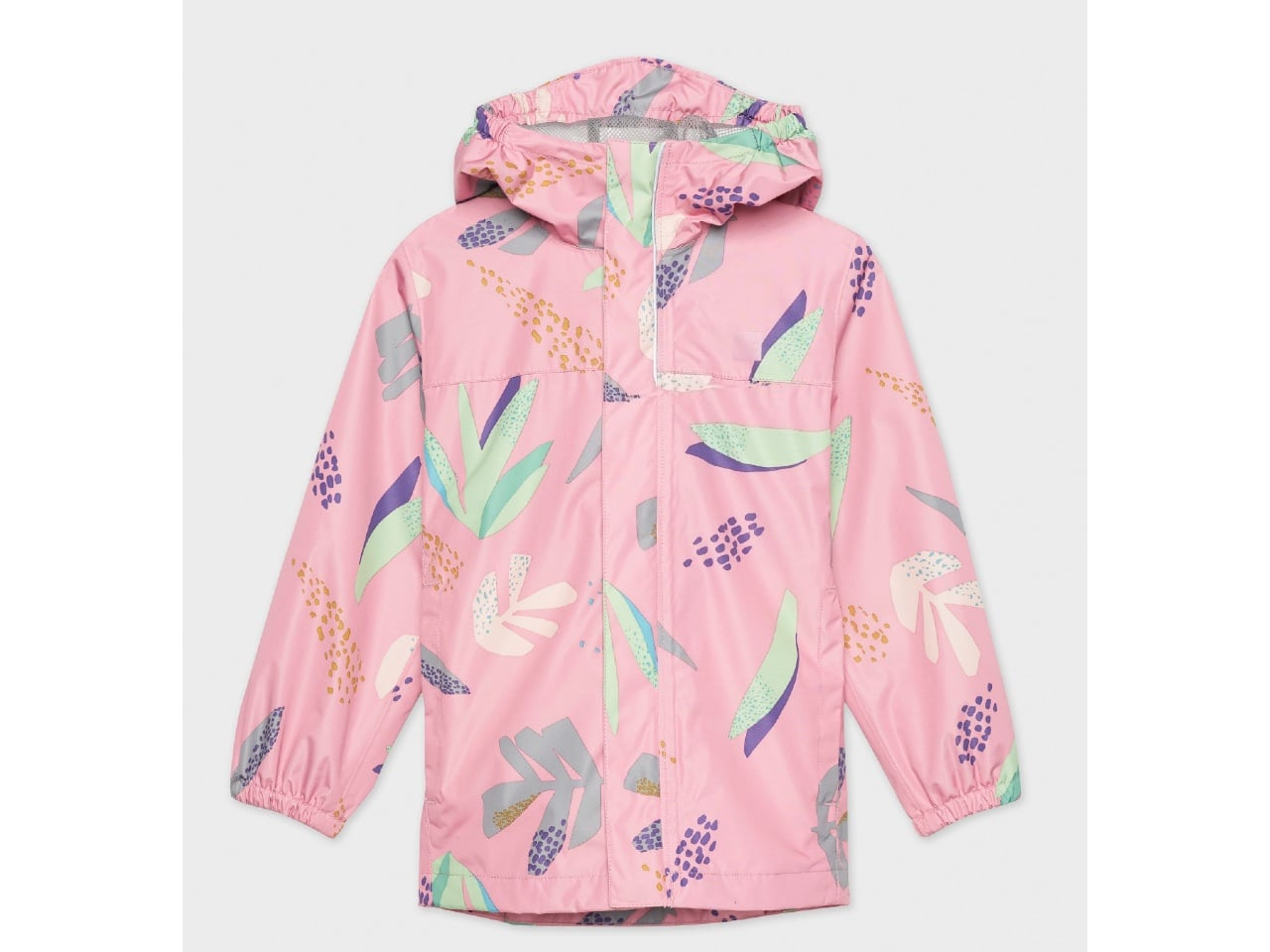 pink rain coat with colourful foliage motif
