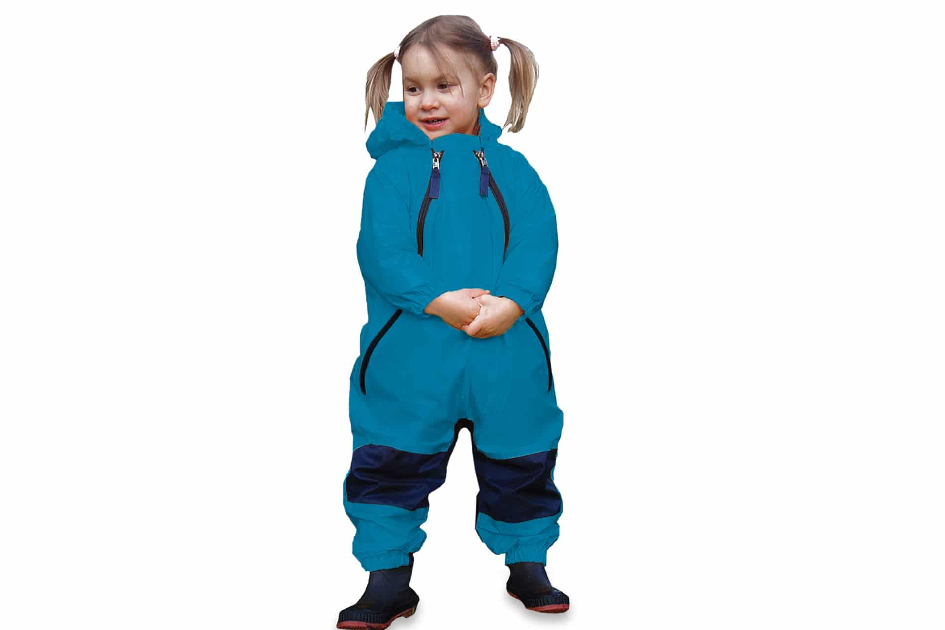 toddler in a blue one-piece rain suit