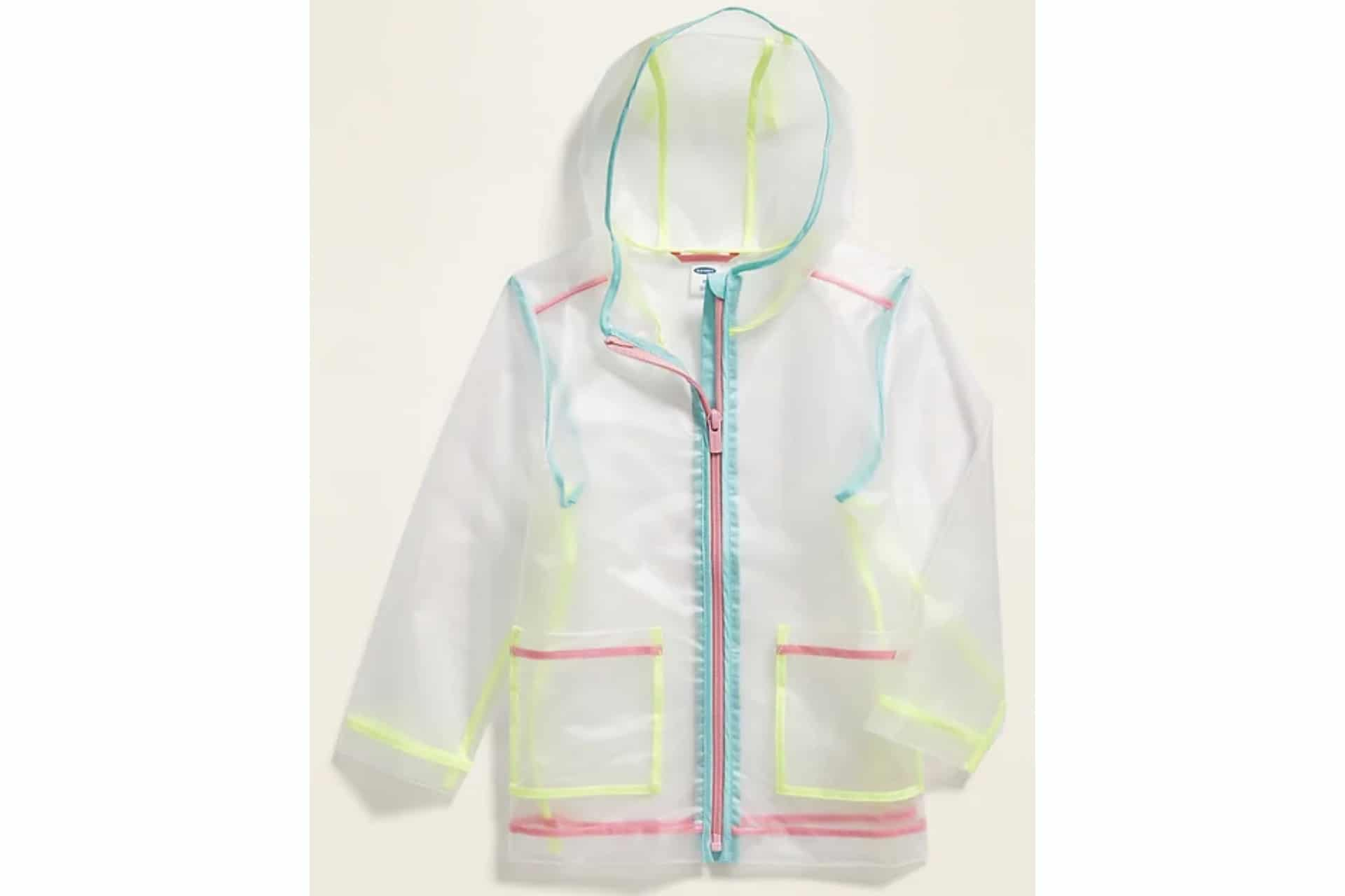 transparent raincoat with neon piping