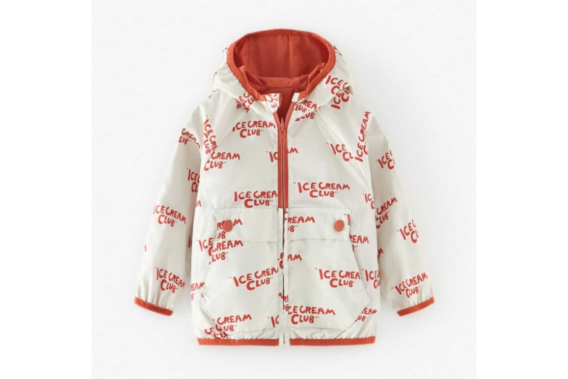 white and red rain coat with text overtop that says Ice Cream Club