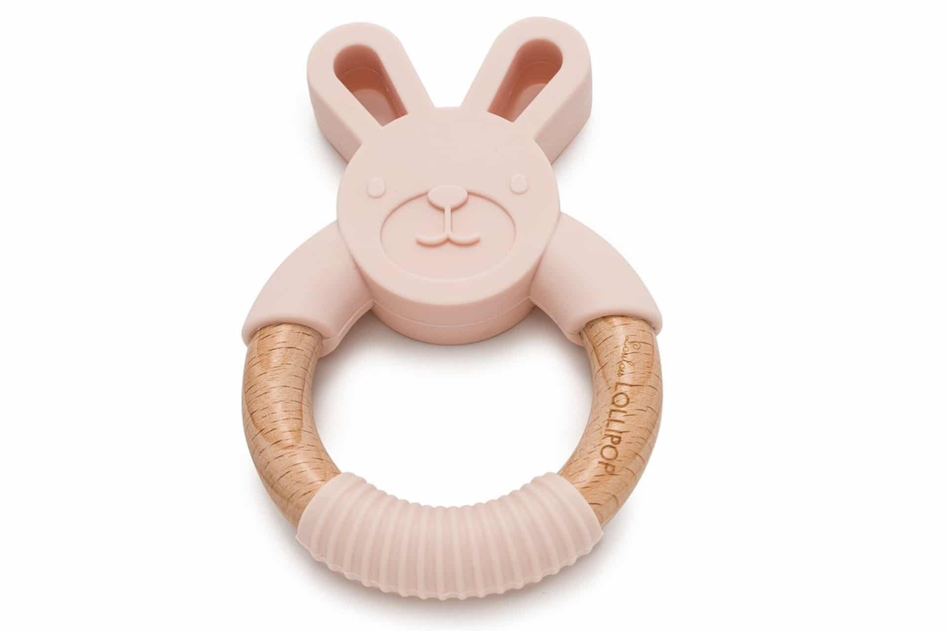 Bunny Silicone and Wood Teether in a light pink