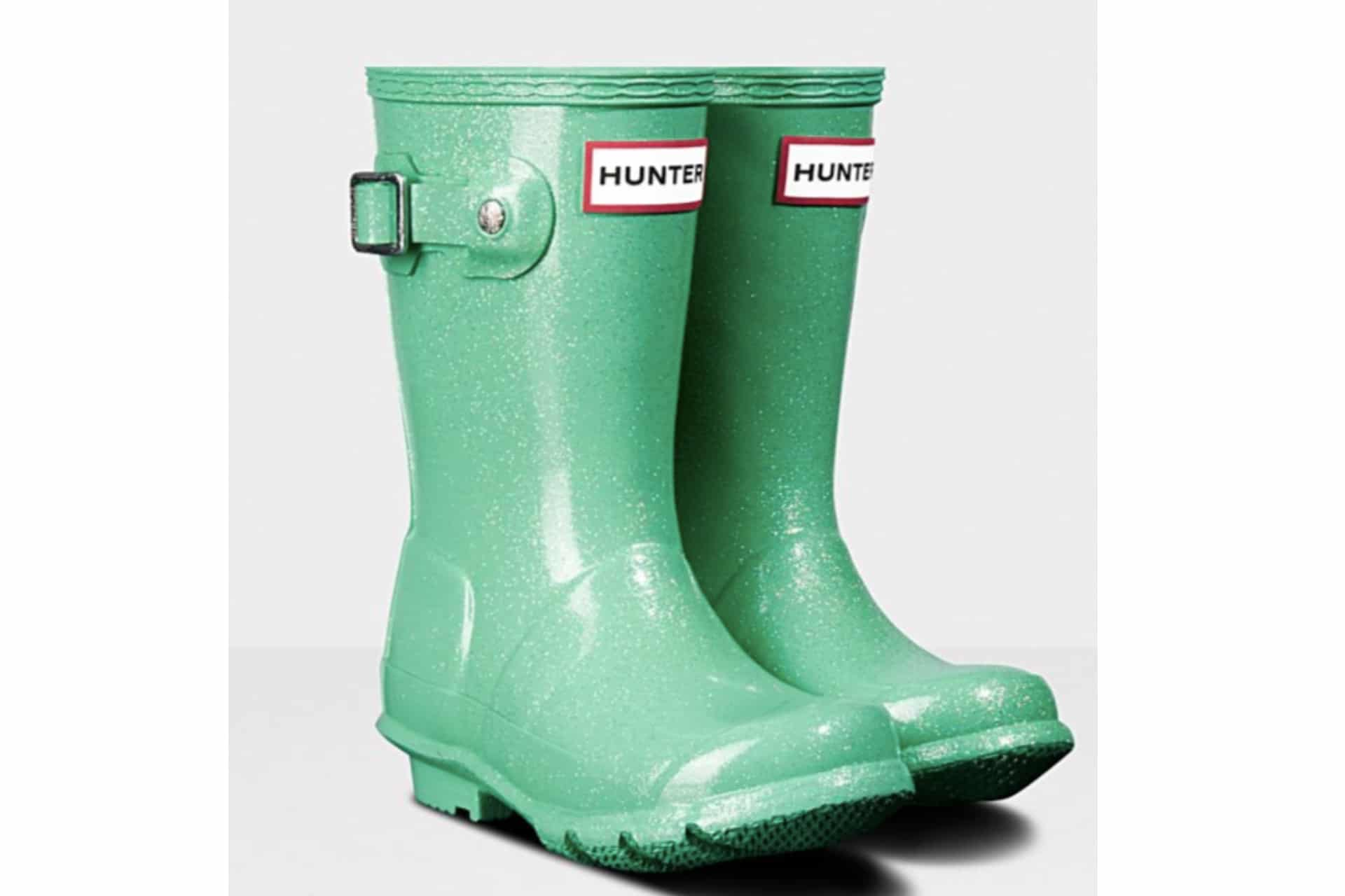 sparkly green rubber boots