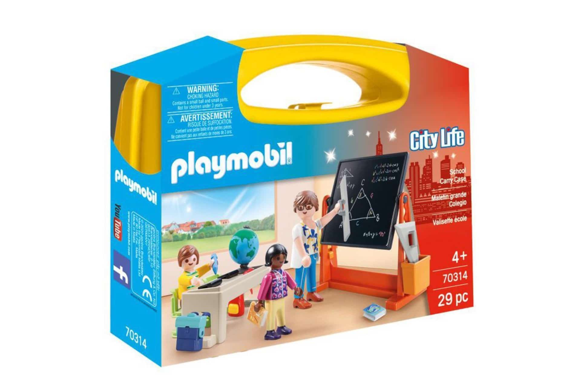Carrying case with school-themed figures and accessories