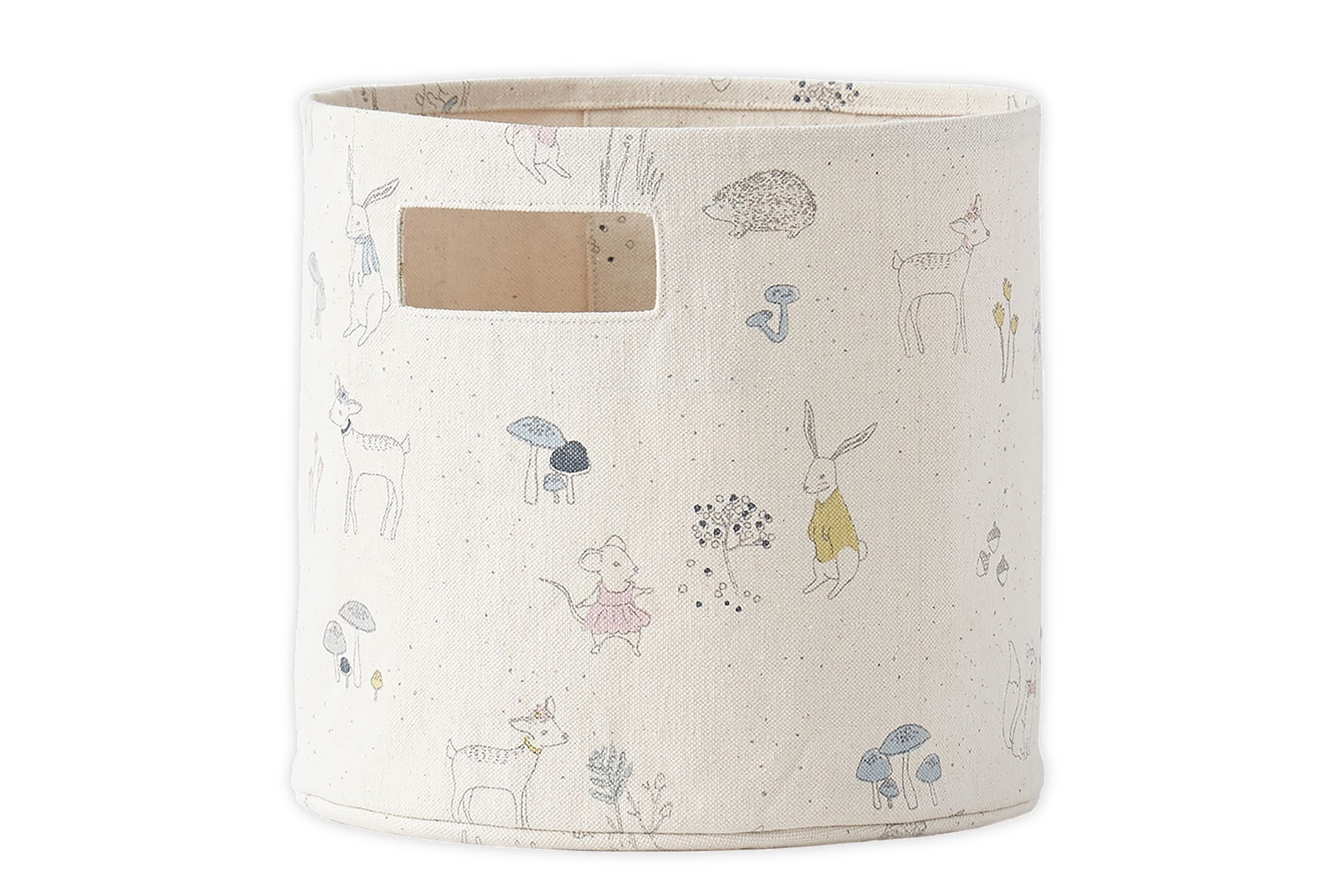 canvas storage basket with woodland and bunny motif