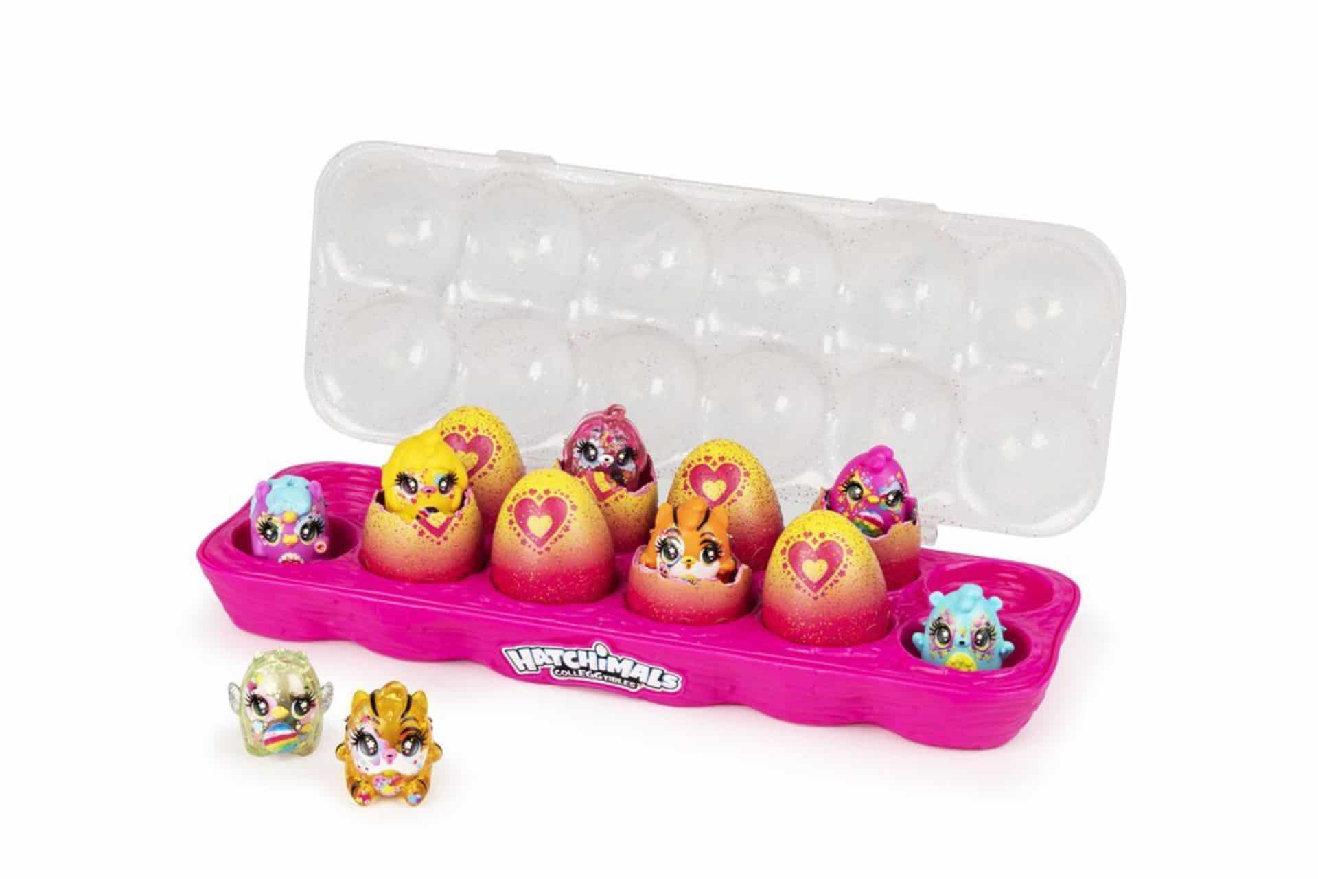 Plastic egg container with collectible figures inside shells