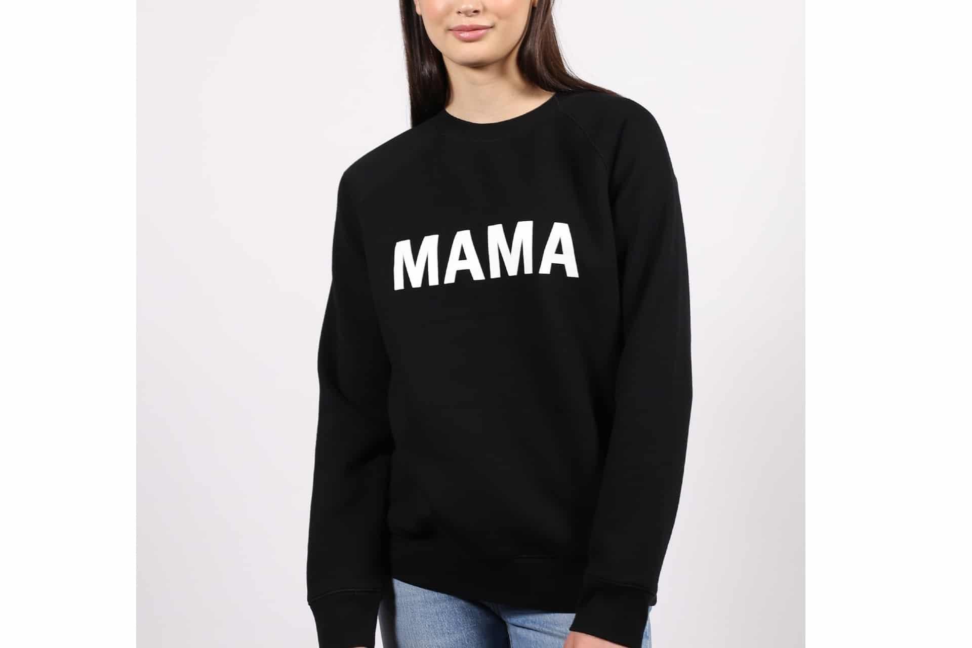 black sweatshirt that says 'Mama'