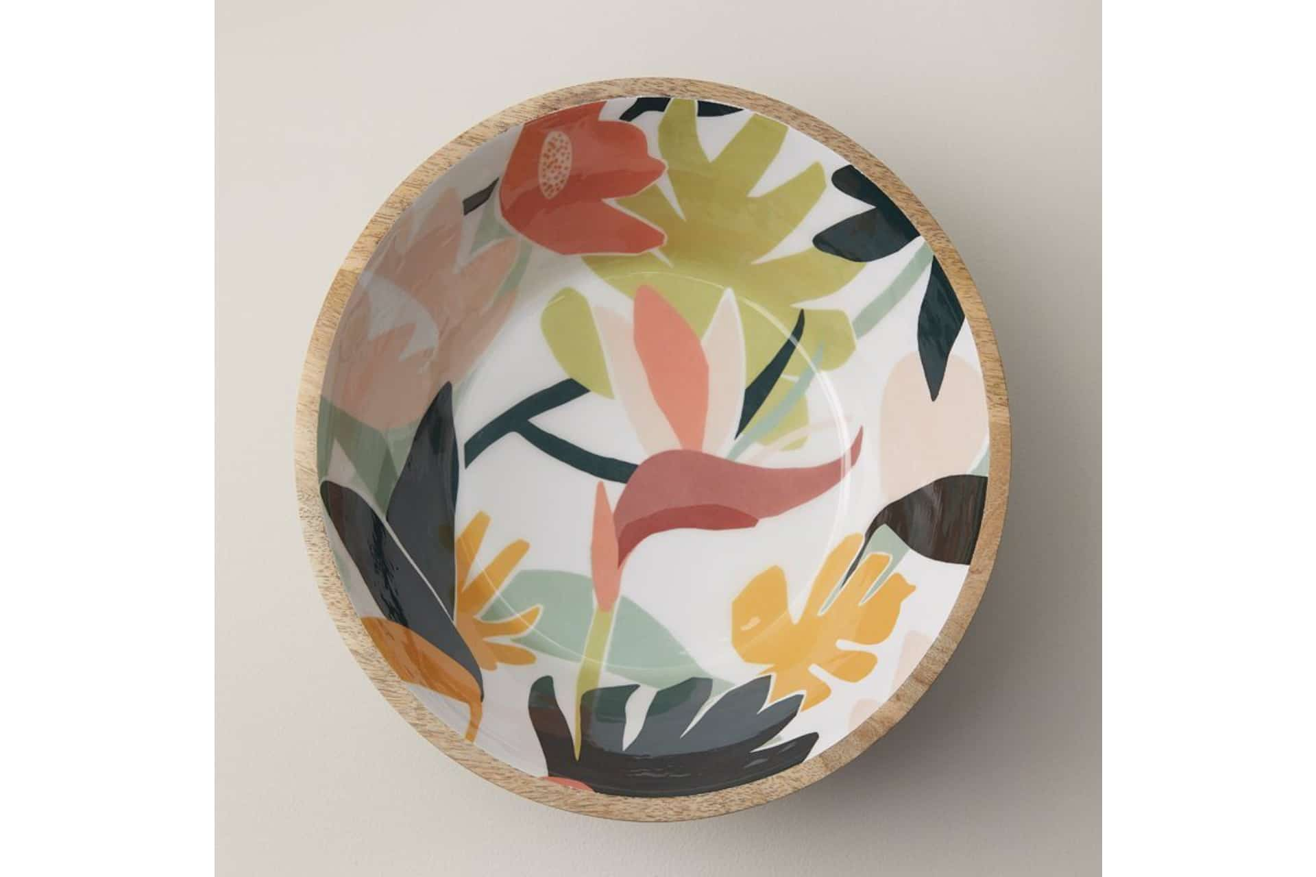 wooden bowl with floral patterned interior