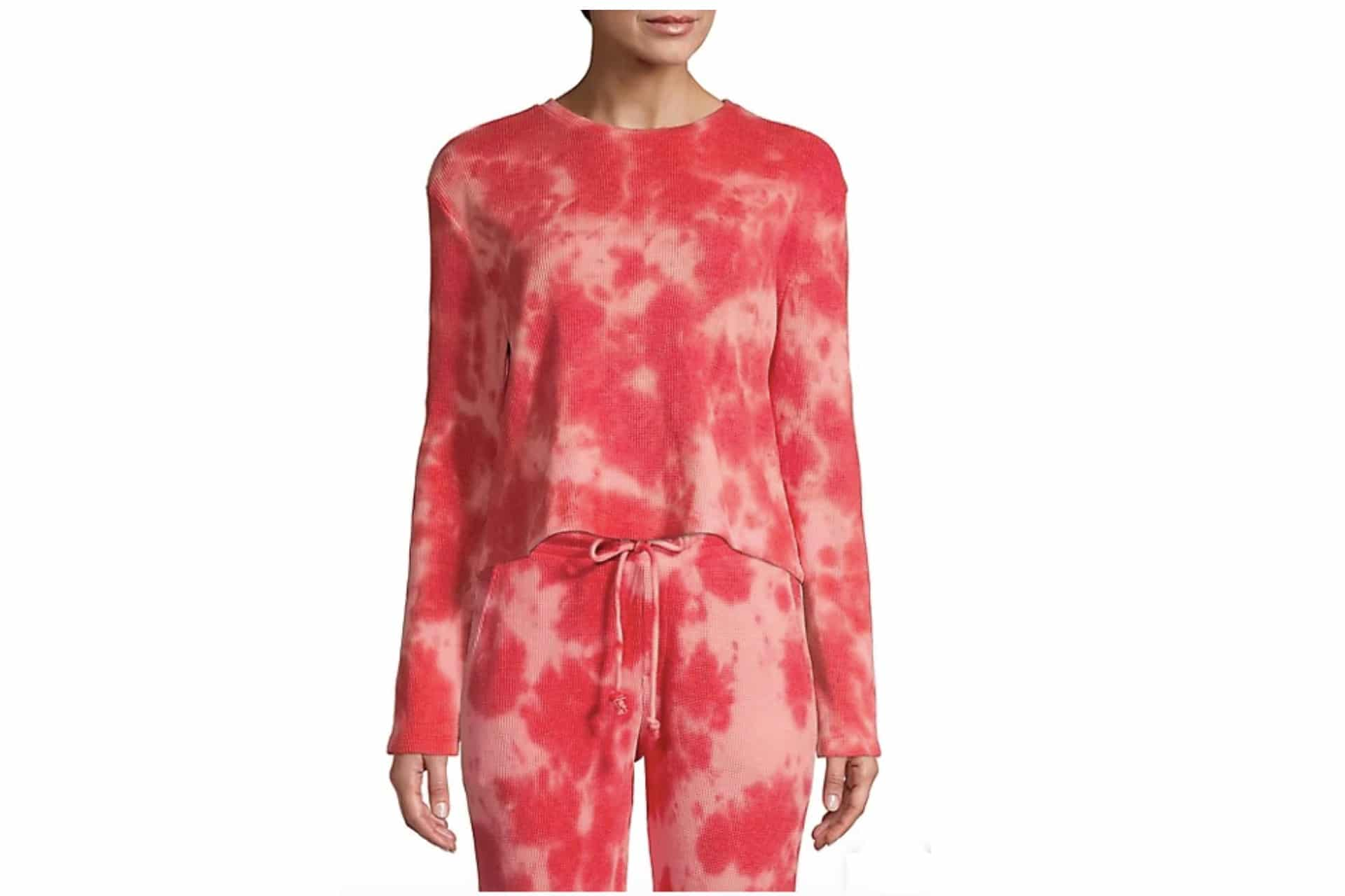 red and white tie dye shirt and pants