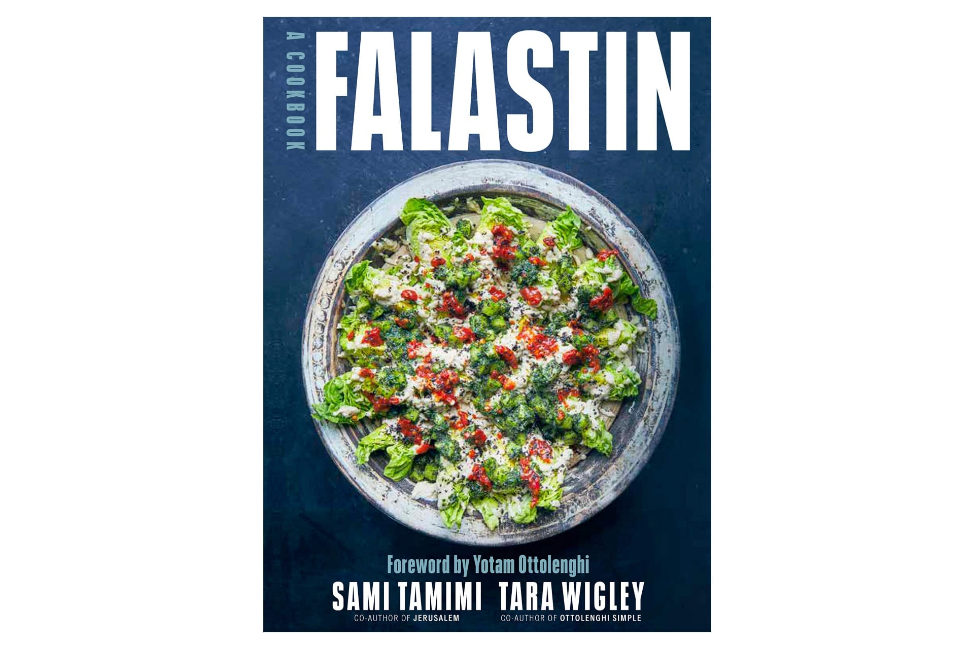 falastin cookbook with bright salad on the cover
