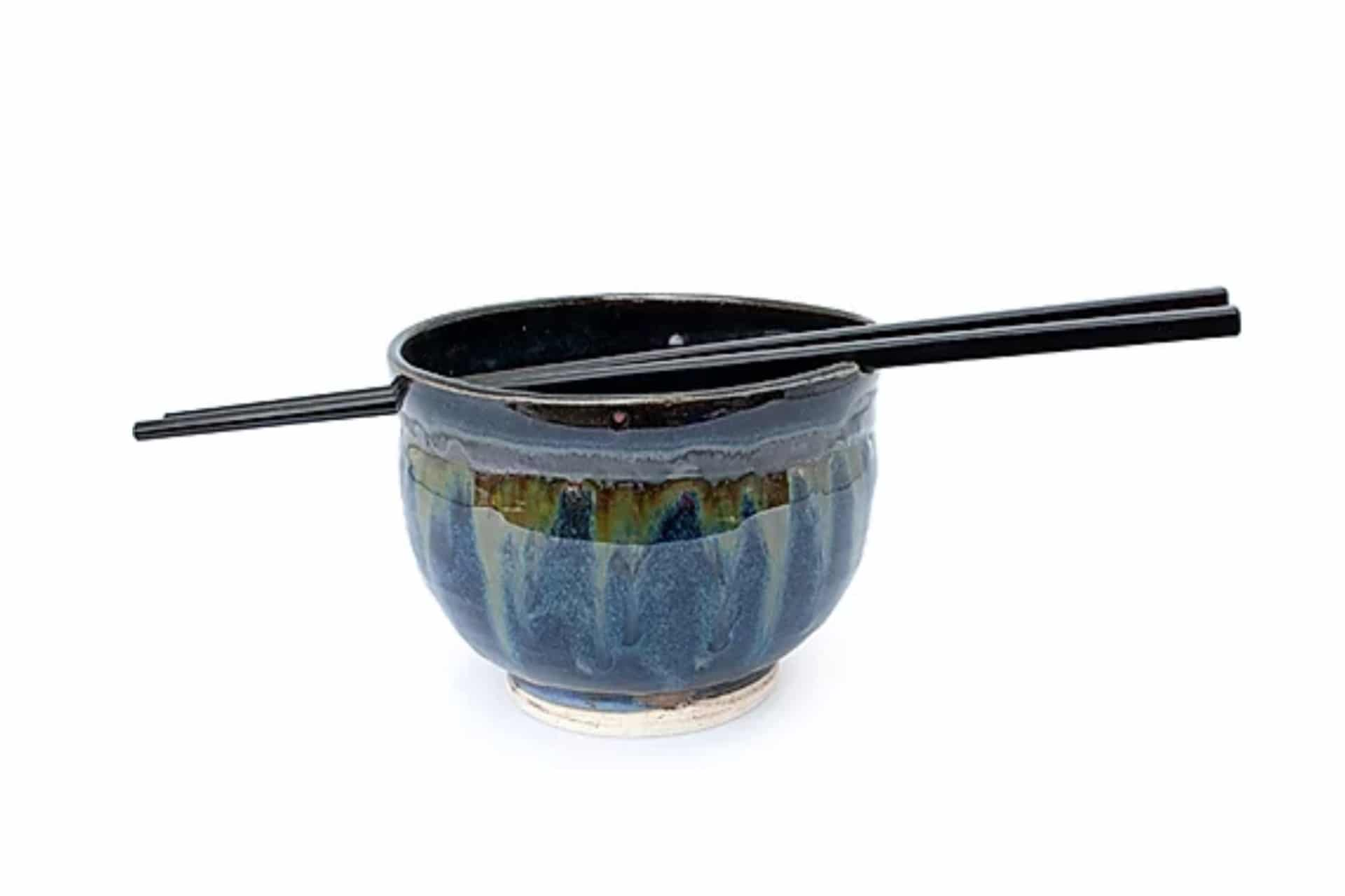pottery ramen bowl with chopsticks