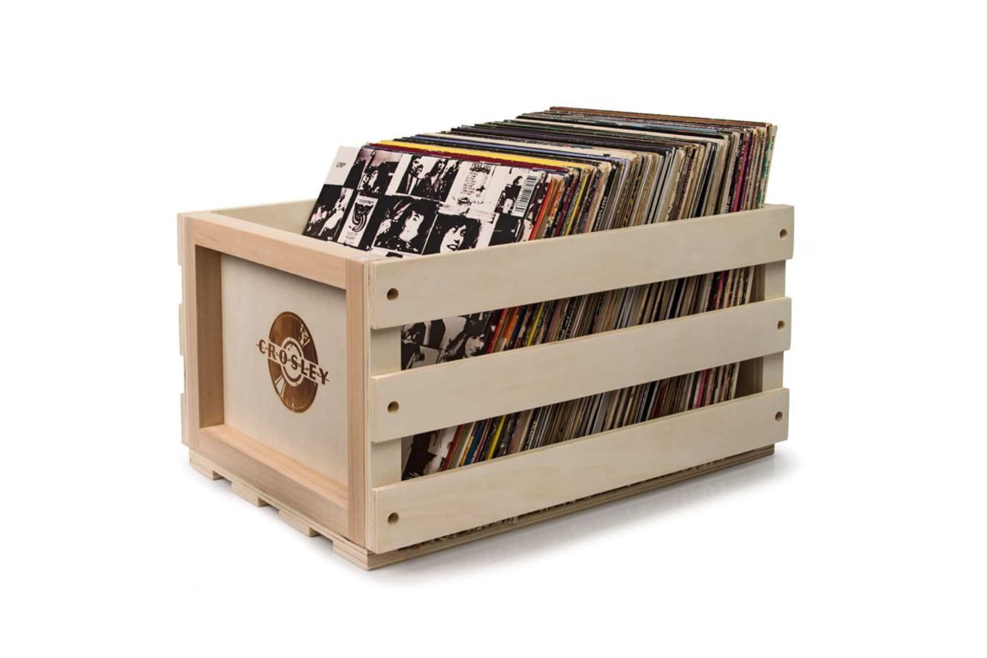 crate with records inside of it