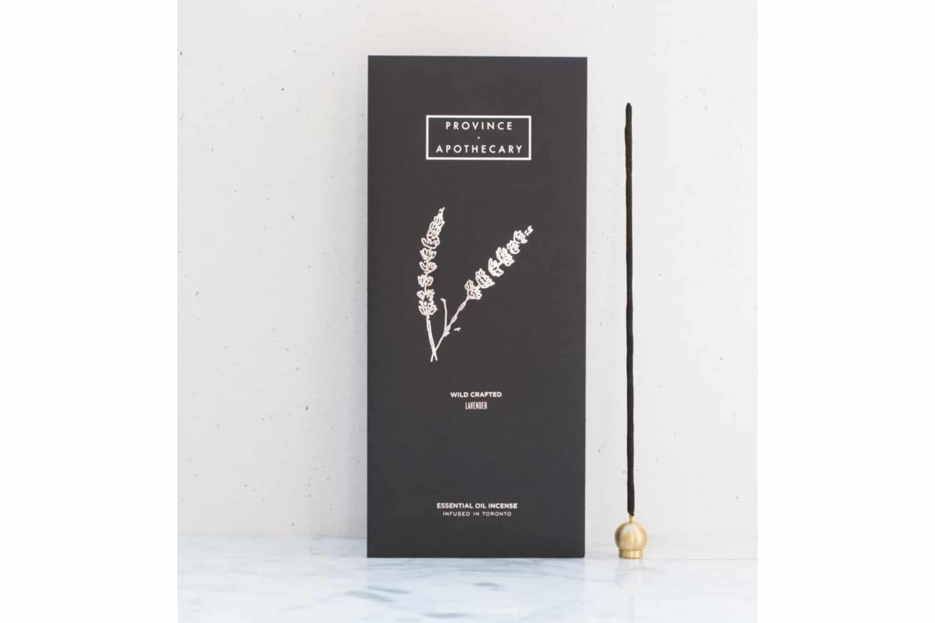 lavender incense in a black package