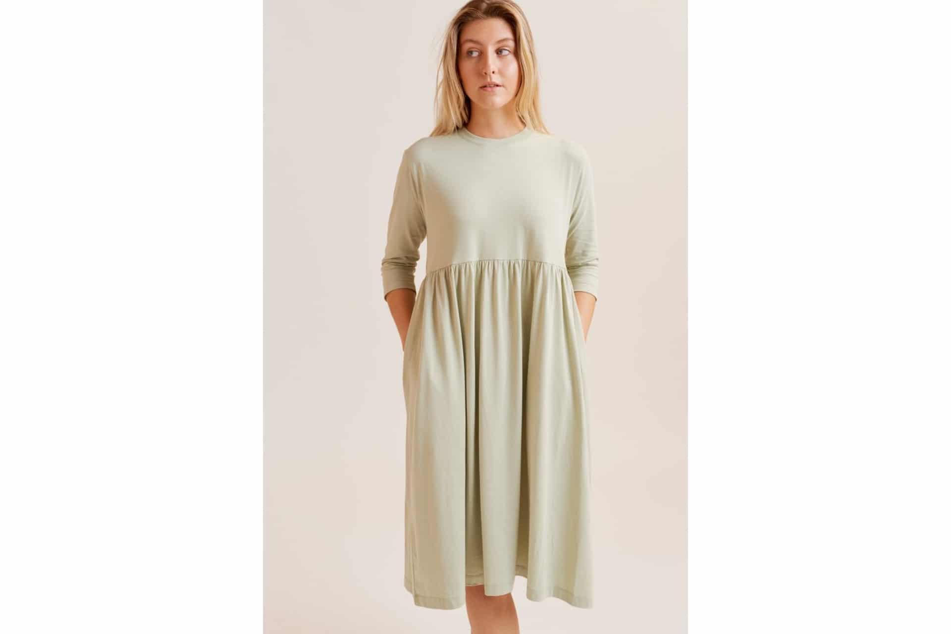 cotton dress in a light green