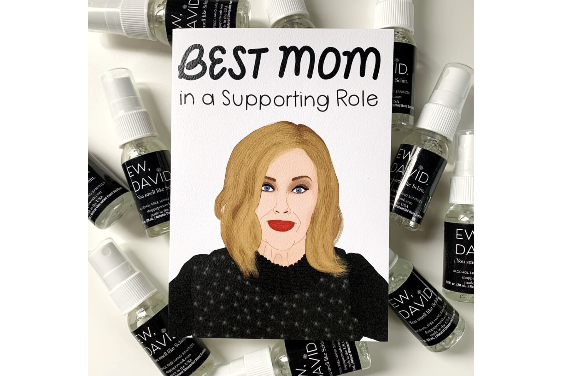 Schitt's creek card that says: Best mom in a supporting role