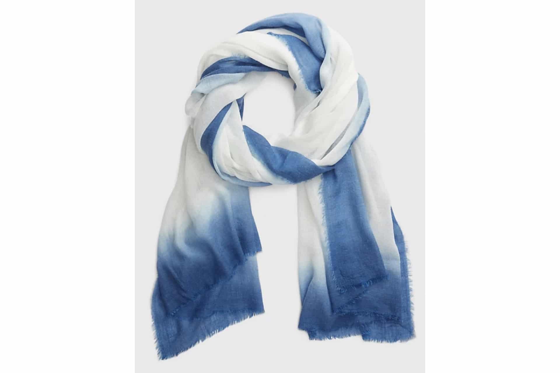 indigo and white ombre scarf