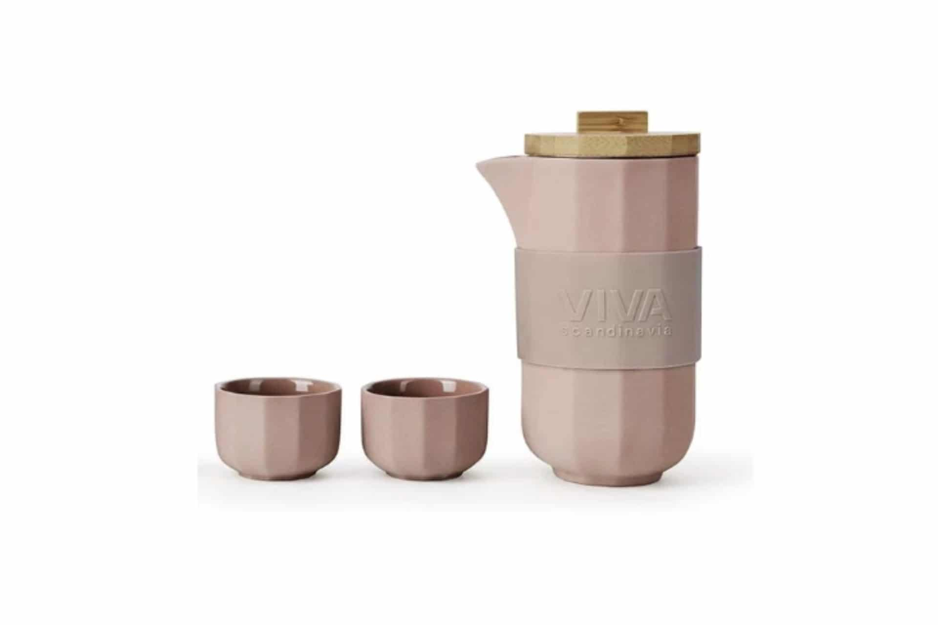 powder pink tea pot and two cups