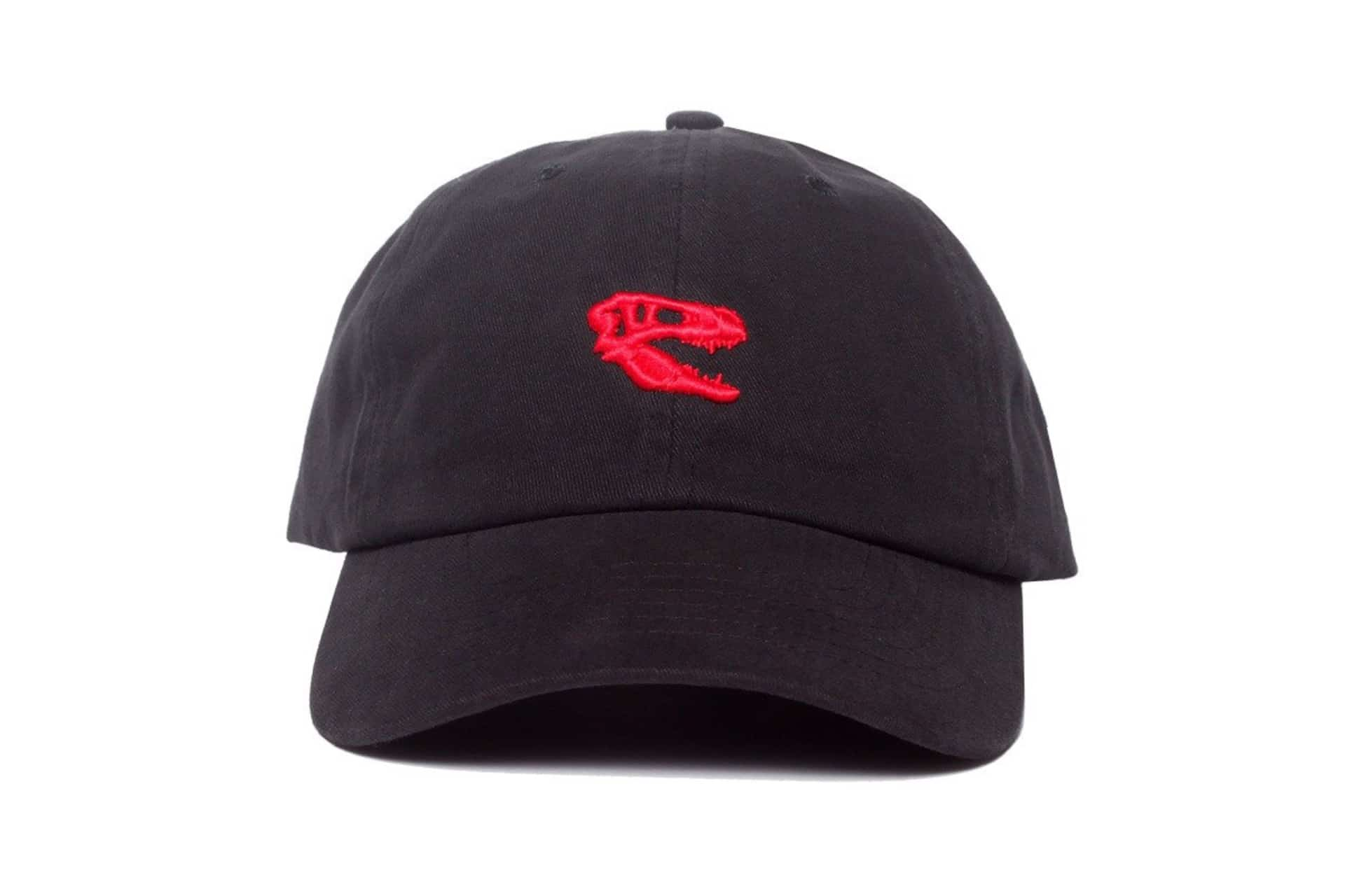 Black baseball cap with red Raptors logo