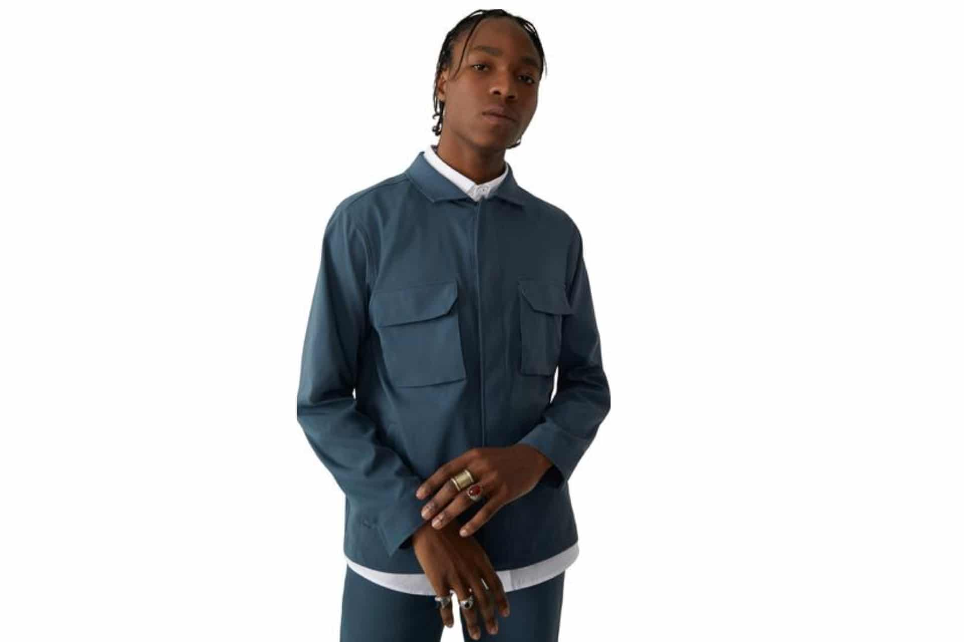 black man in a blue jacket