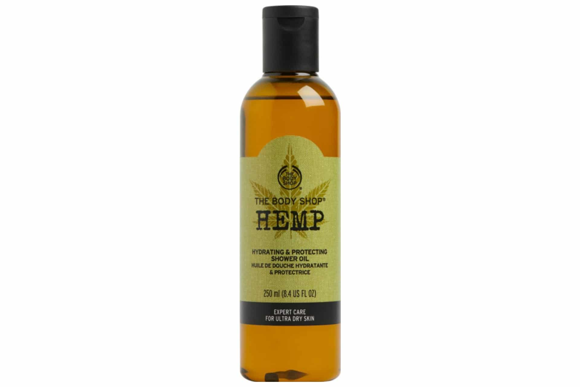 bottle of hemp body oil