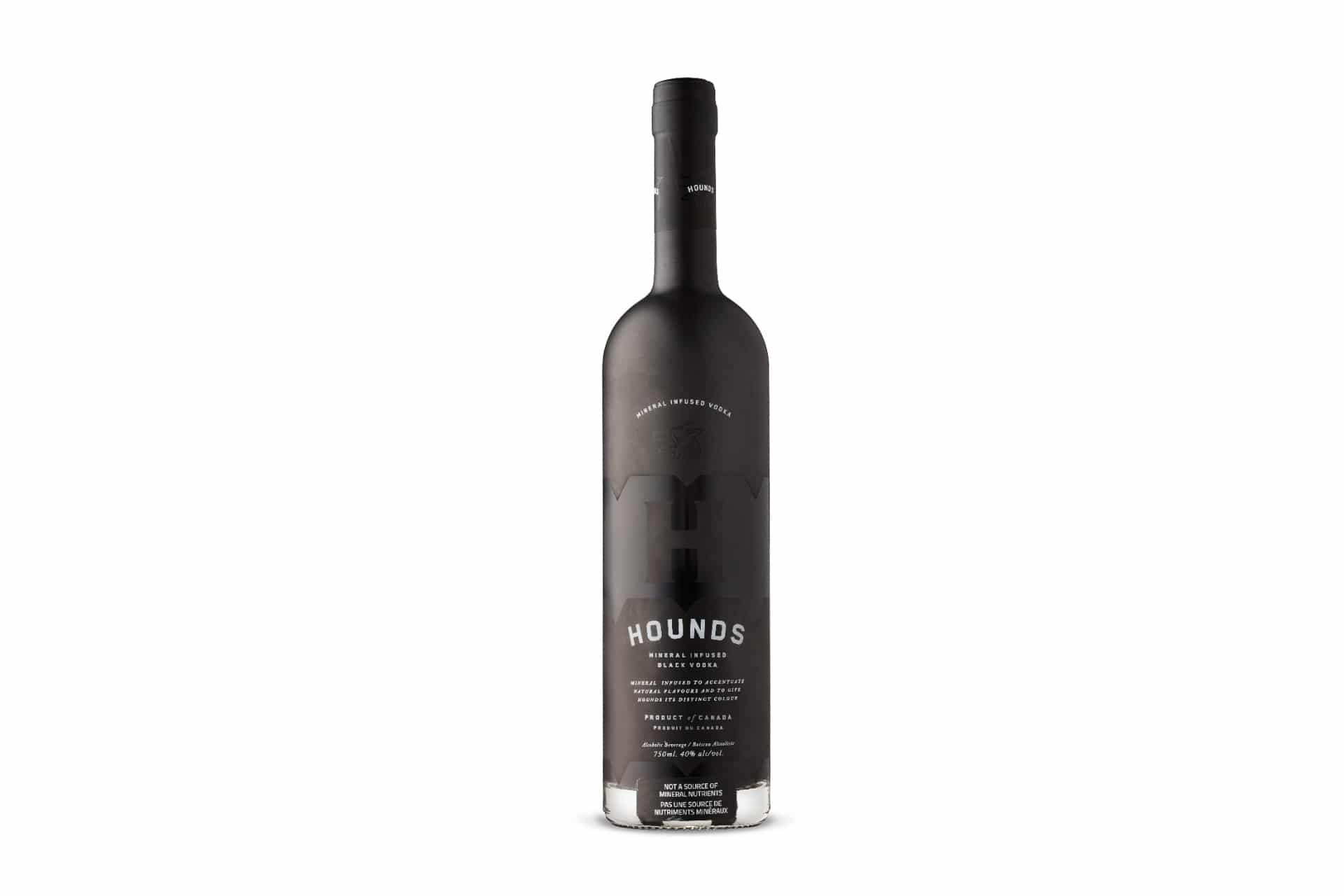 Black bottle of Hounds vodka