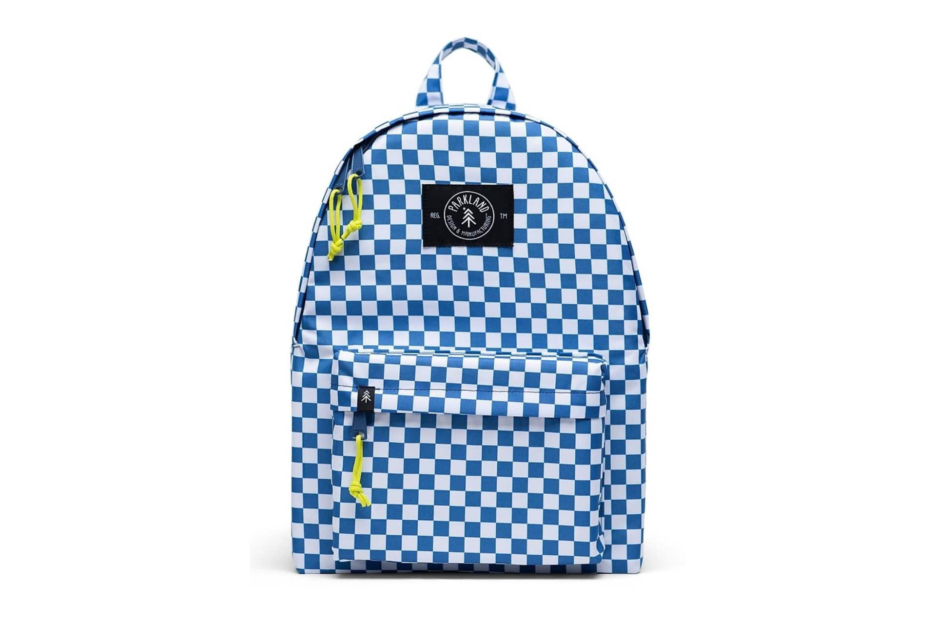 blue and white checkerboard backpack