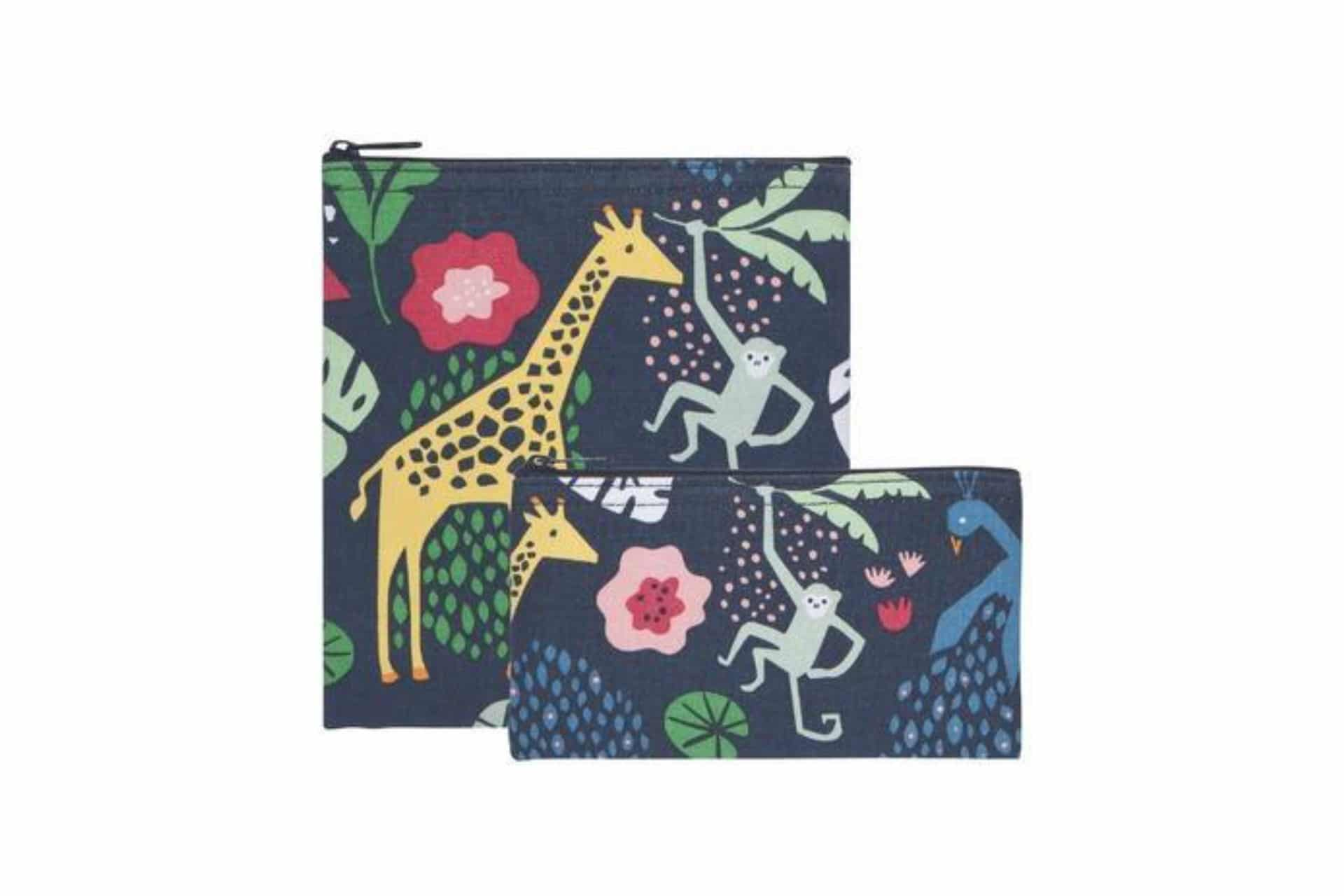 cloth snack bags with jungle animal motif