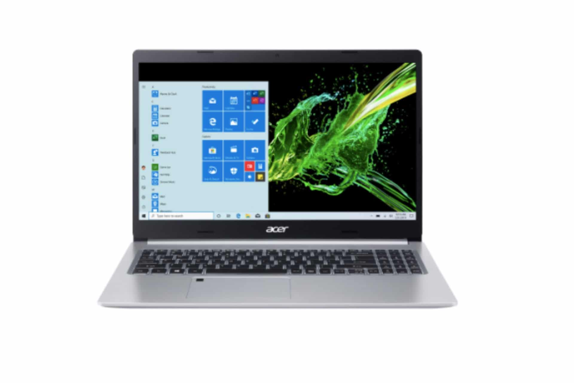 acer laptop open to show screen
