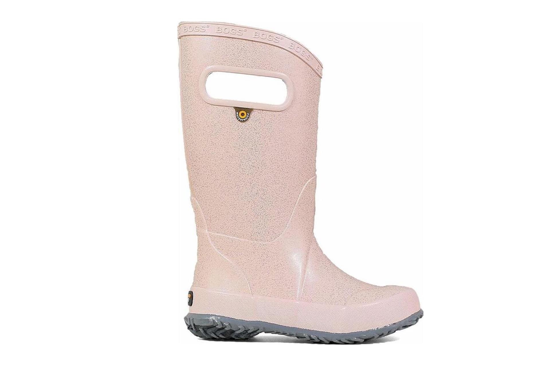 pink glittery rain boots