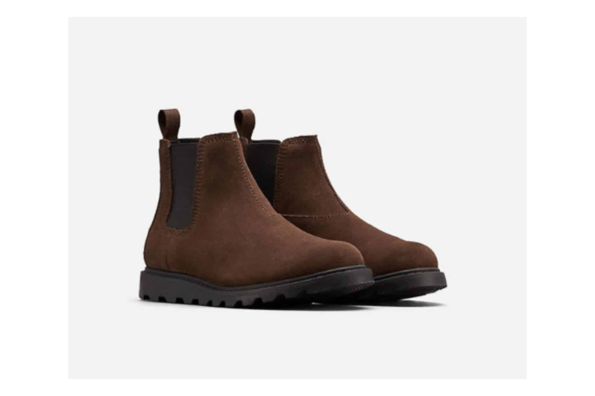 pair of brown chelsea boots