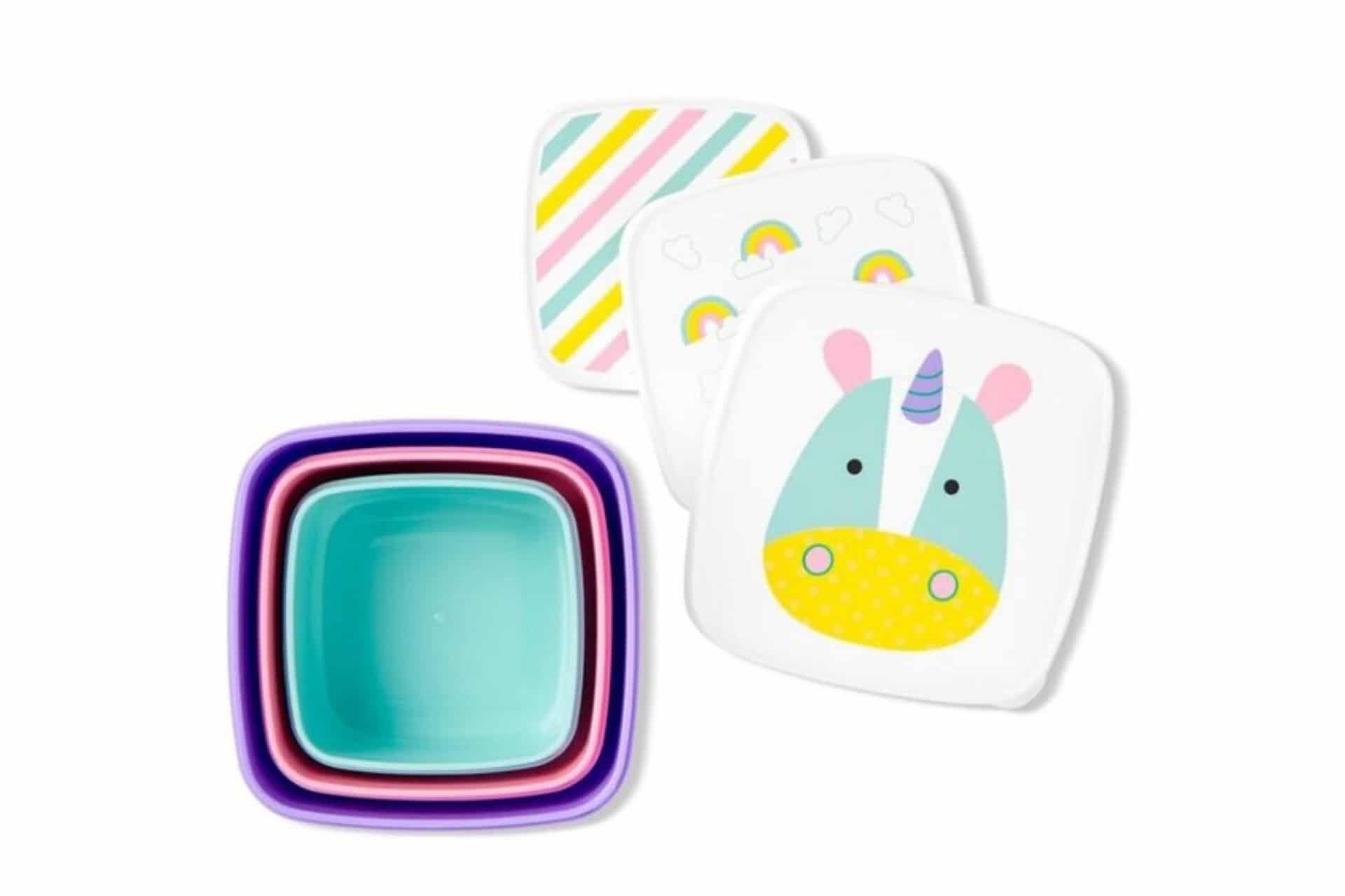 nesting lunch boxes with unicorn design