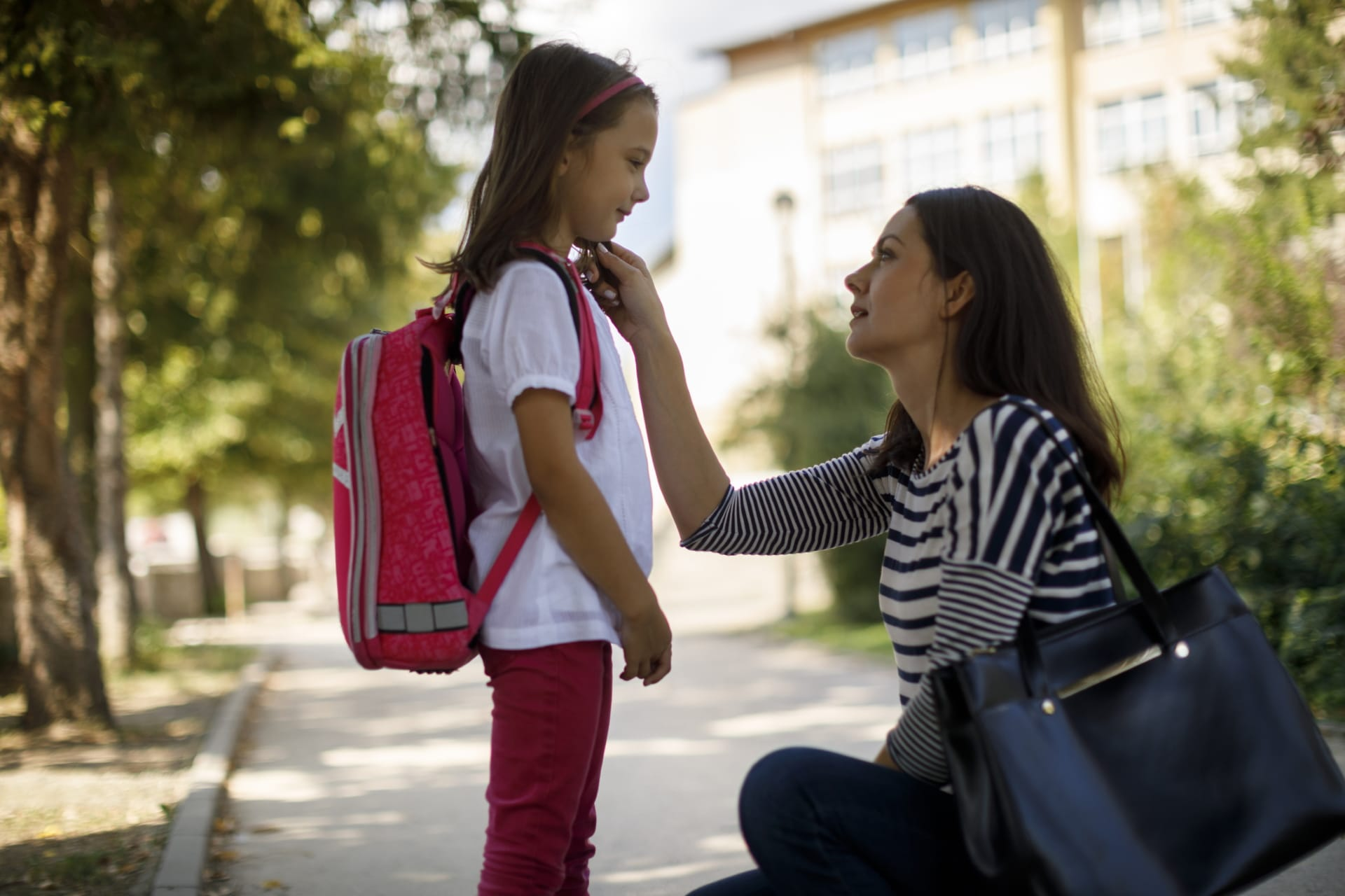 mother and daughter ready for school