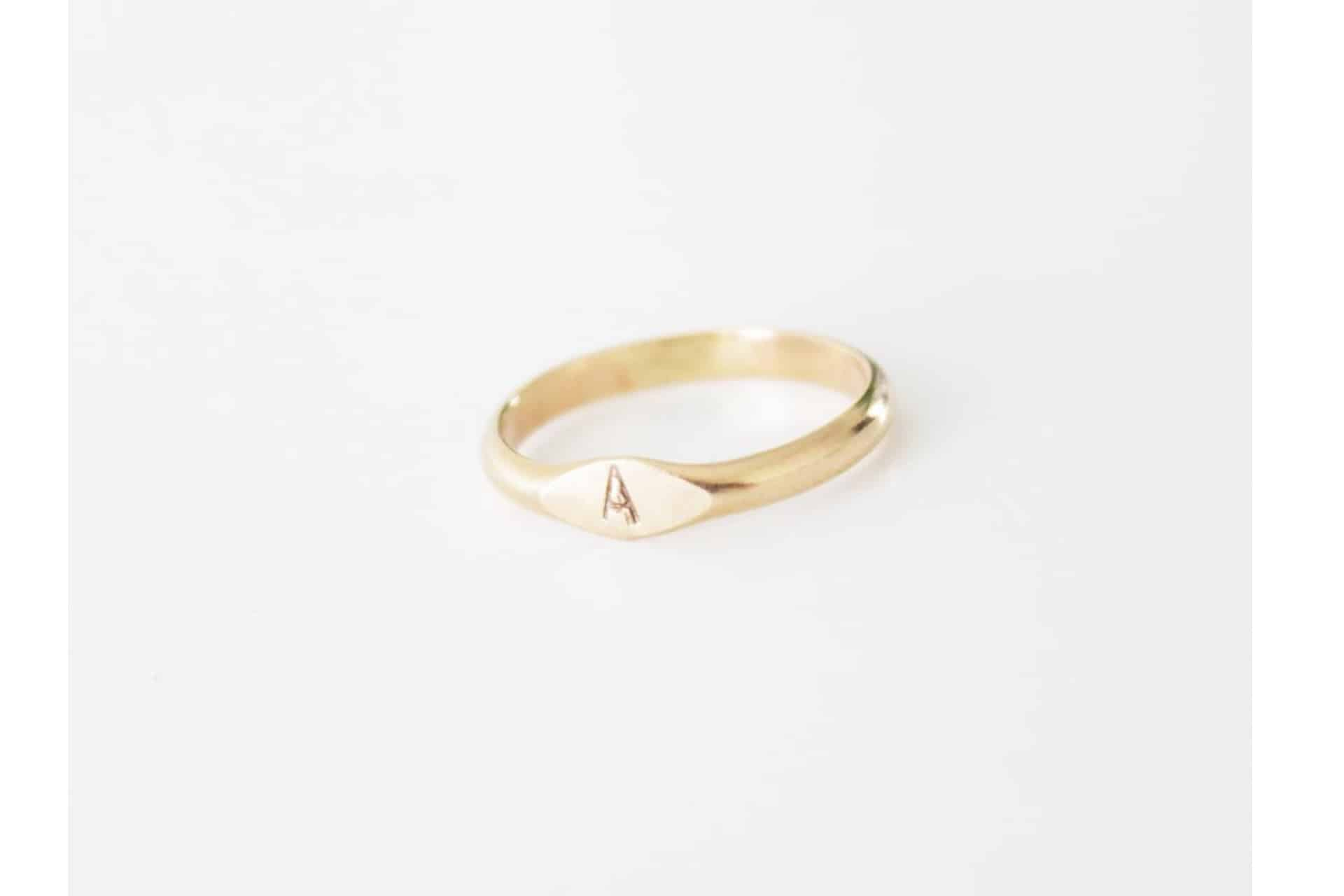 Personalized Signet gold Ring with the letter
