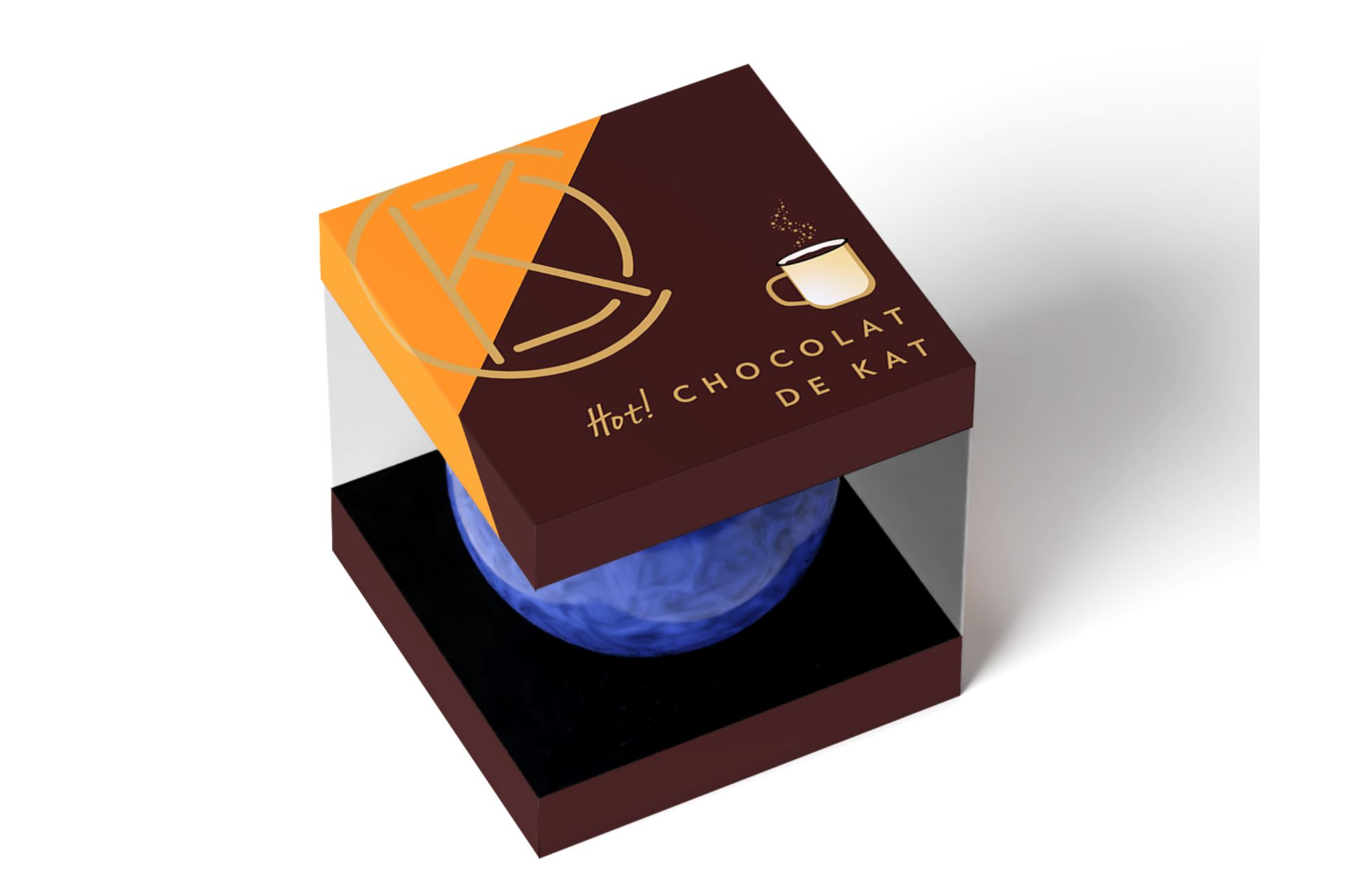 blue hot chocolate bomb in brown and orange packaging