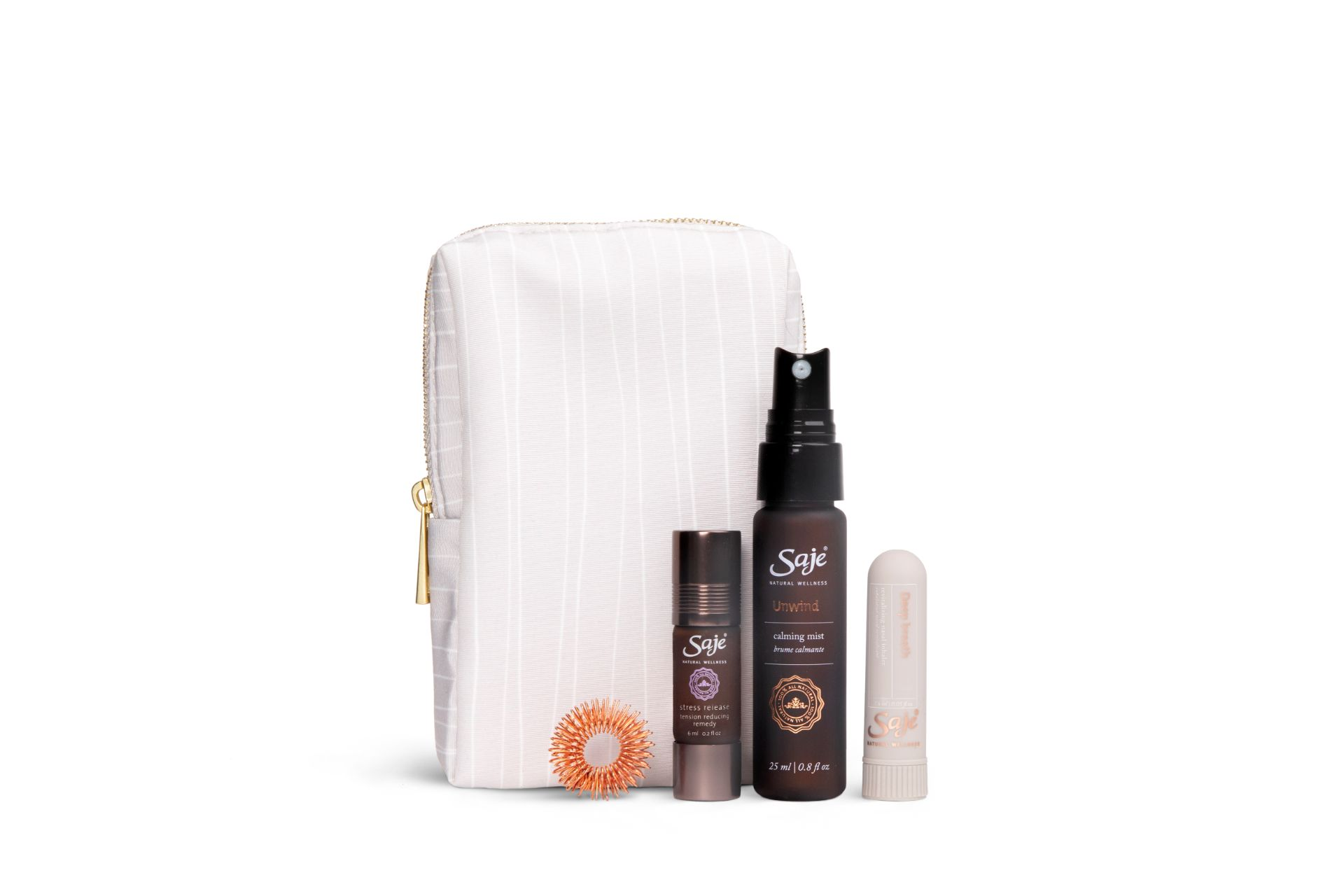 four essential oil and relaxation products with a white carrying case