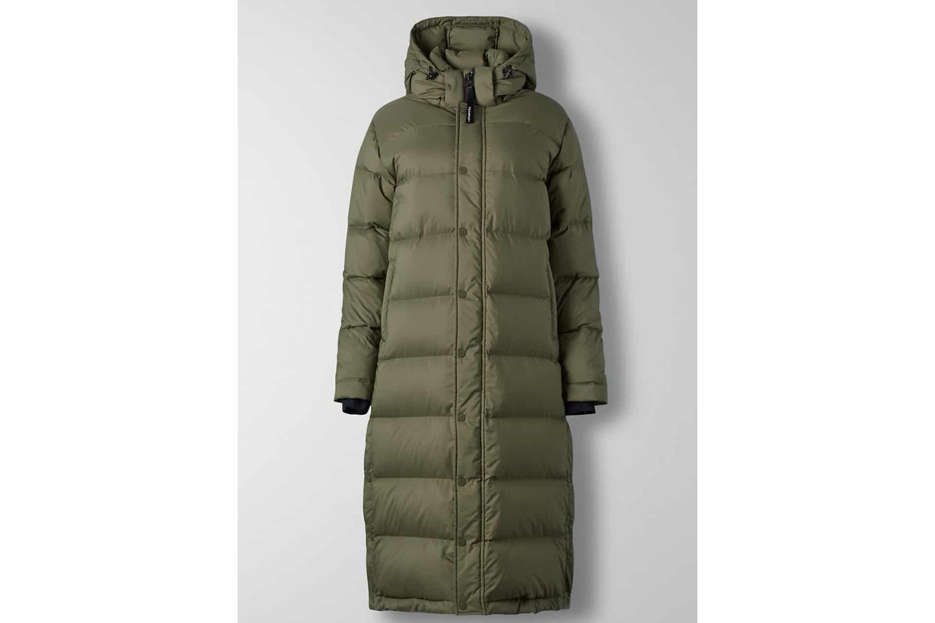 Green long puffer jacket with hood