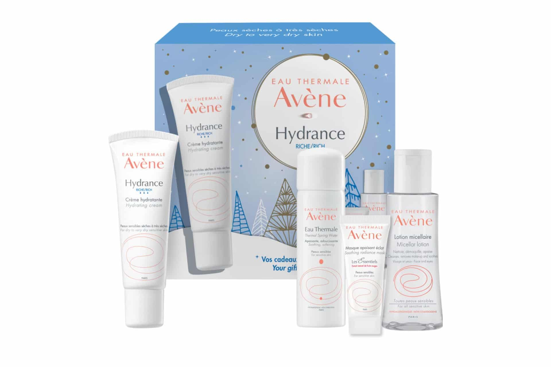 hydrating skincare set in a blue holiday-themed package