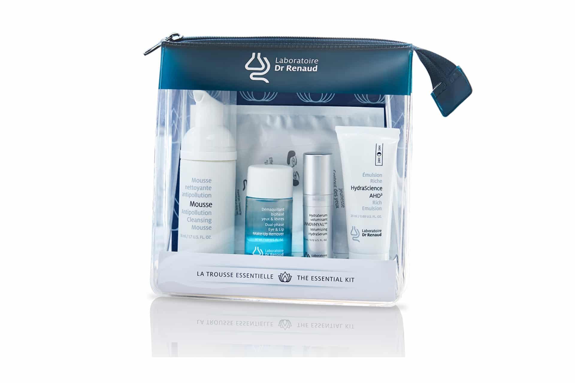 travel-size kit of skincare