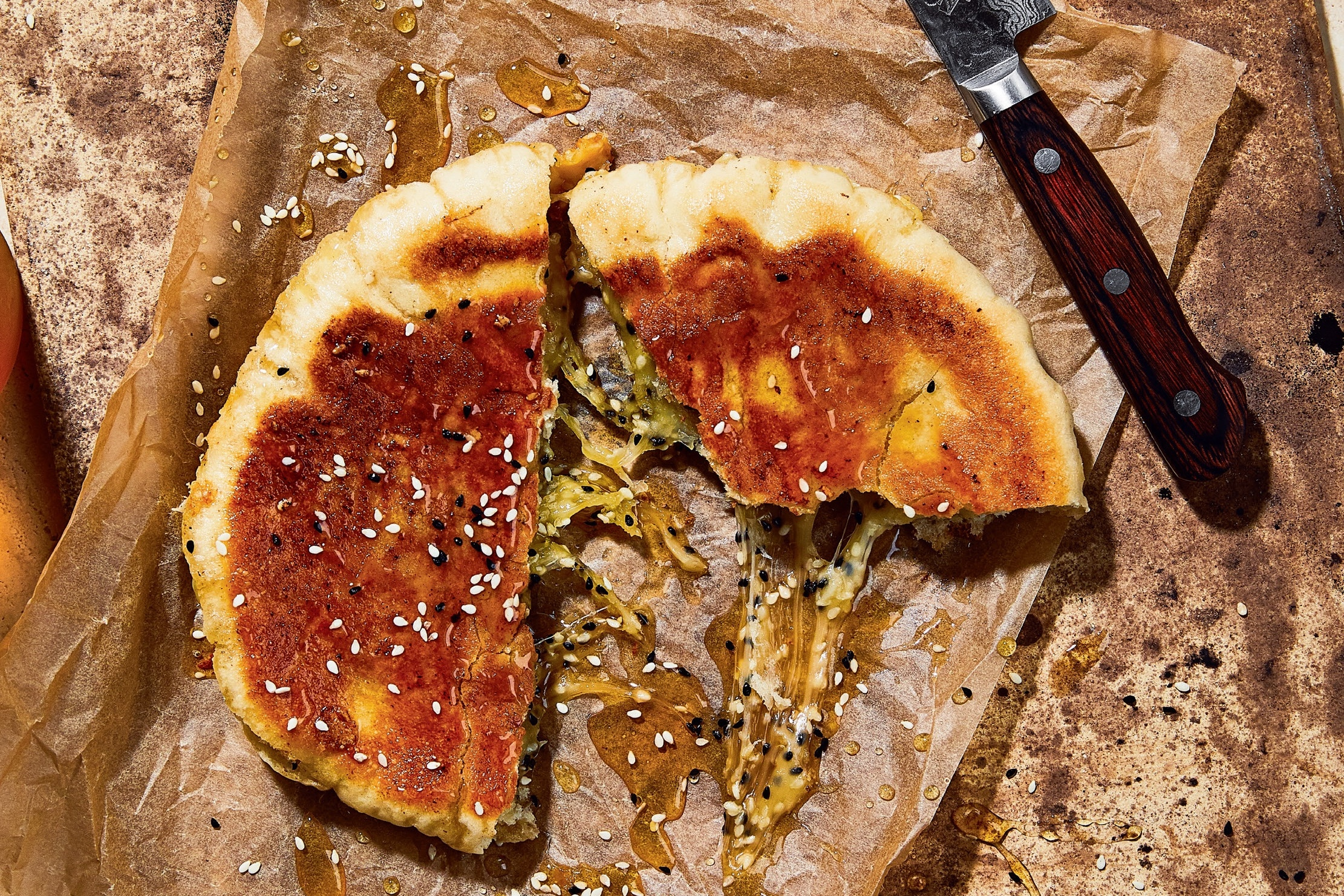 pita with cheese and melted honey