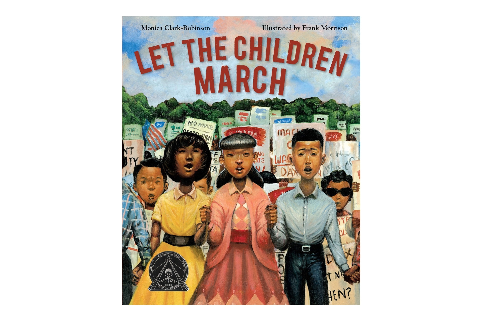 Book cover featuring Black children holding signs. The book is called Let the children march