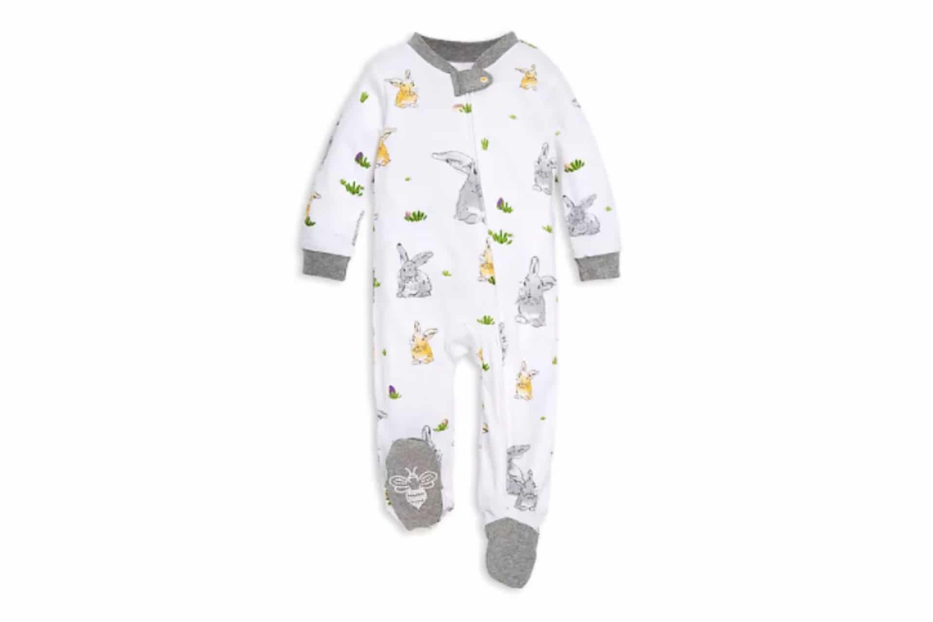 white onesie with bunny decal