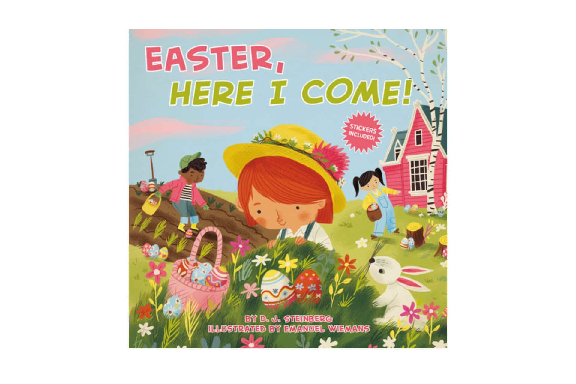 picture book called Easter, here I come with a girl collecting eggs wth friends on the cover