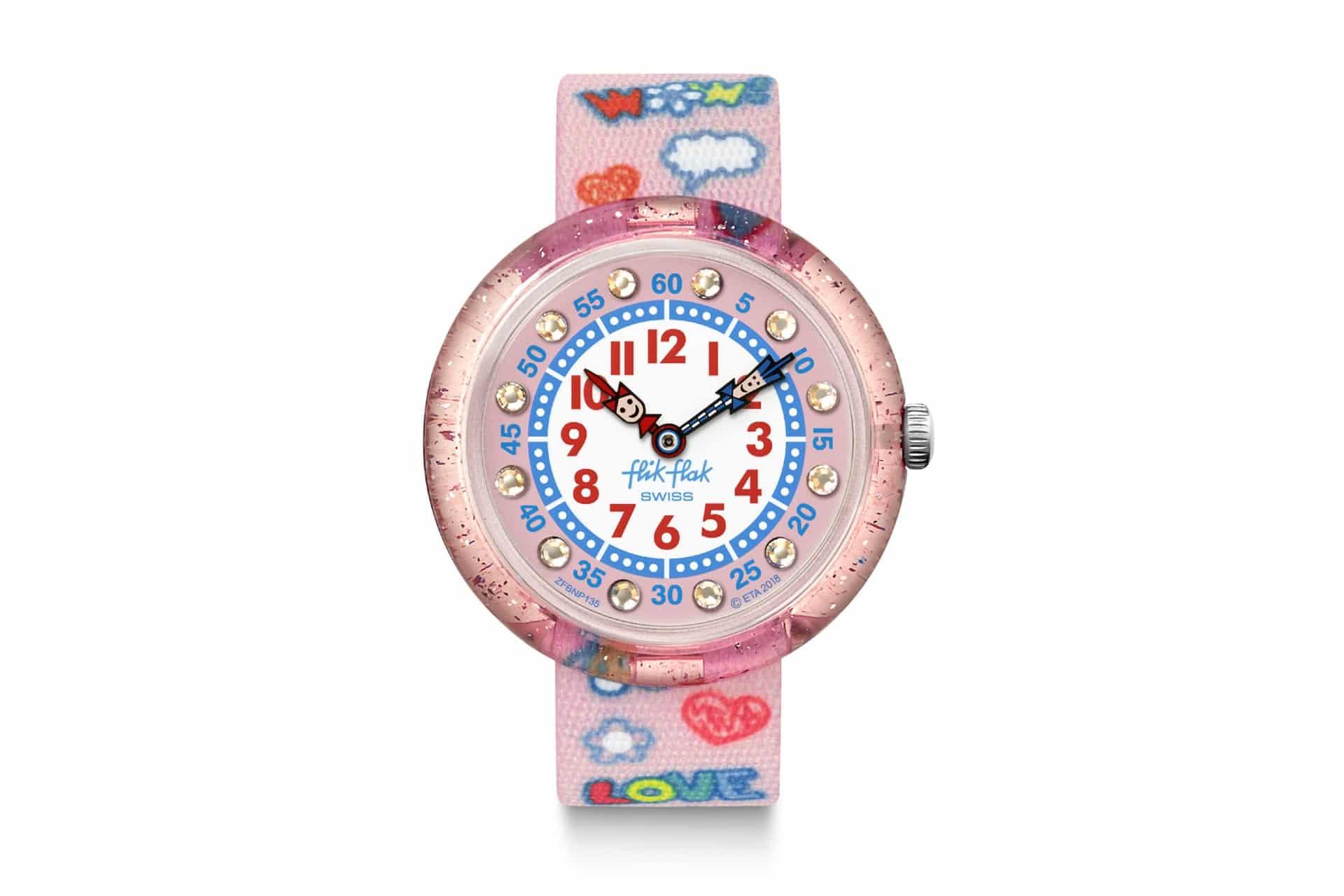 pink kids watch with pop art graphics