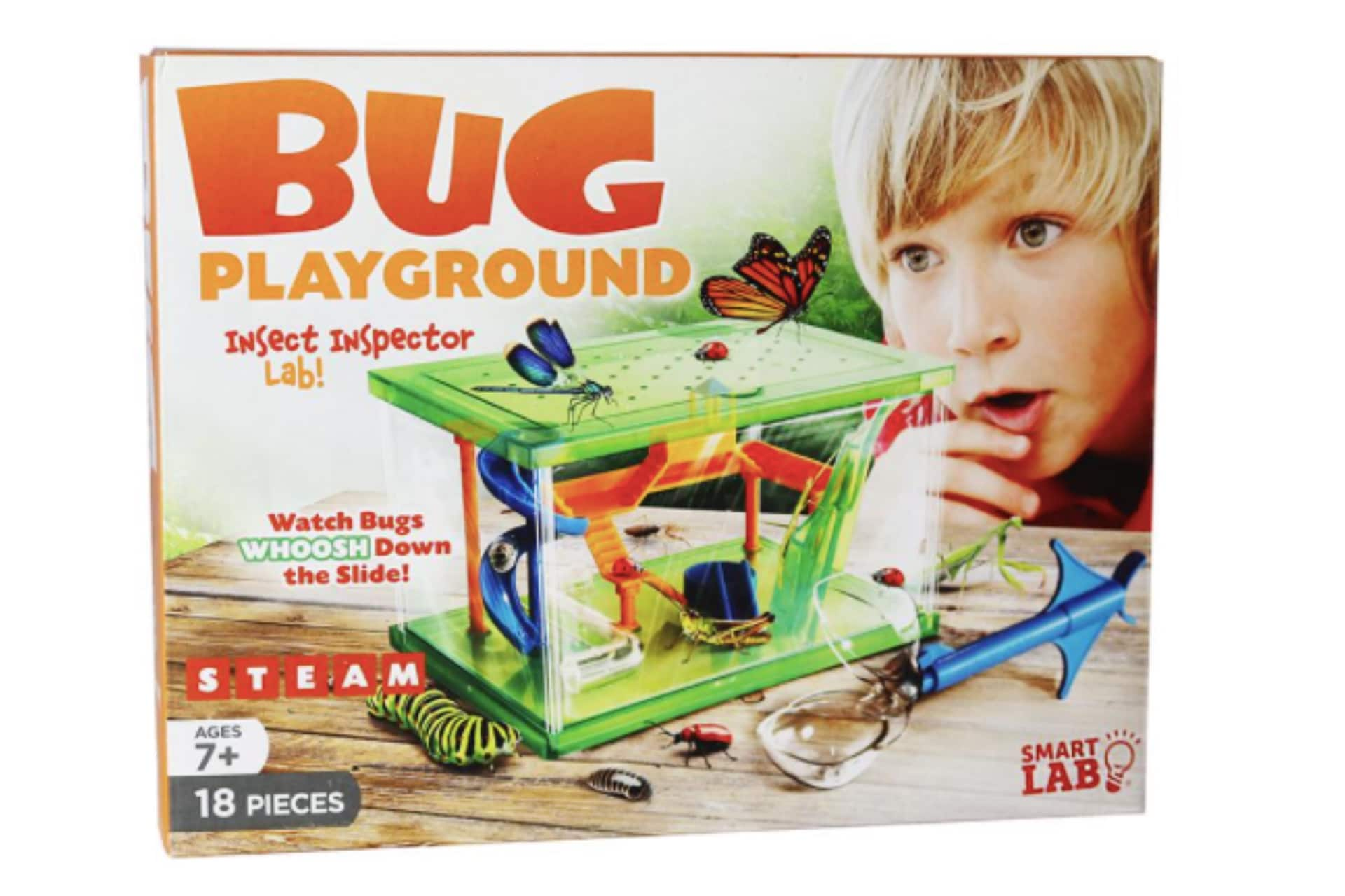 Box featuring green and orange bug playground toy