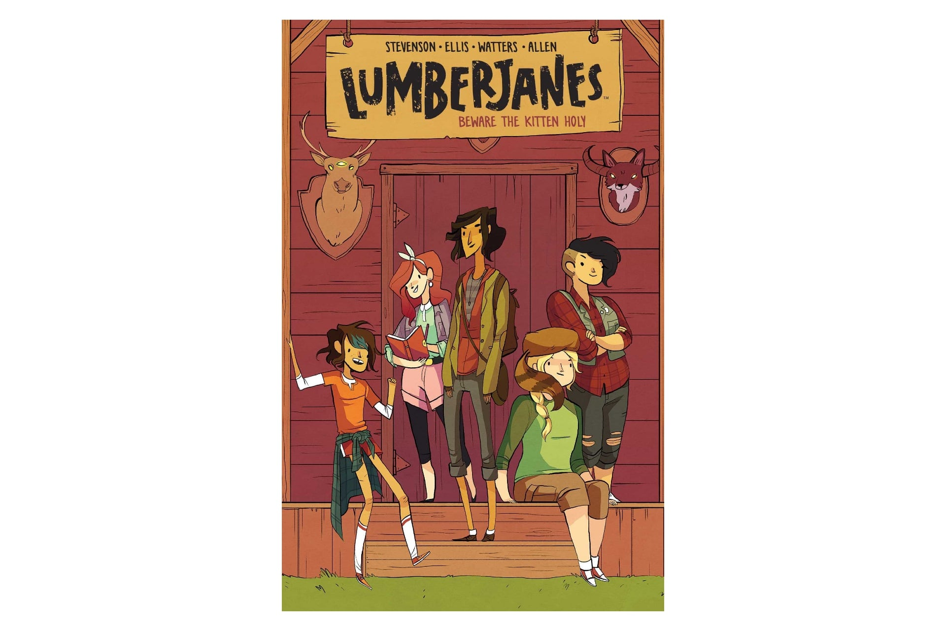 book cover depicting comic-style illustration with a group of female friends outside of a barn