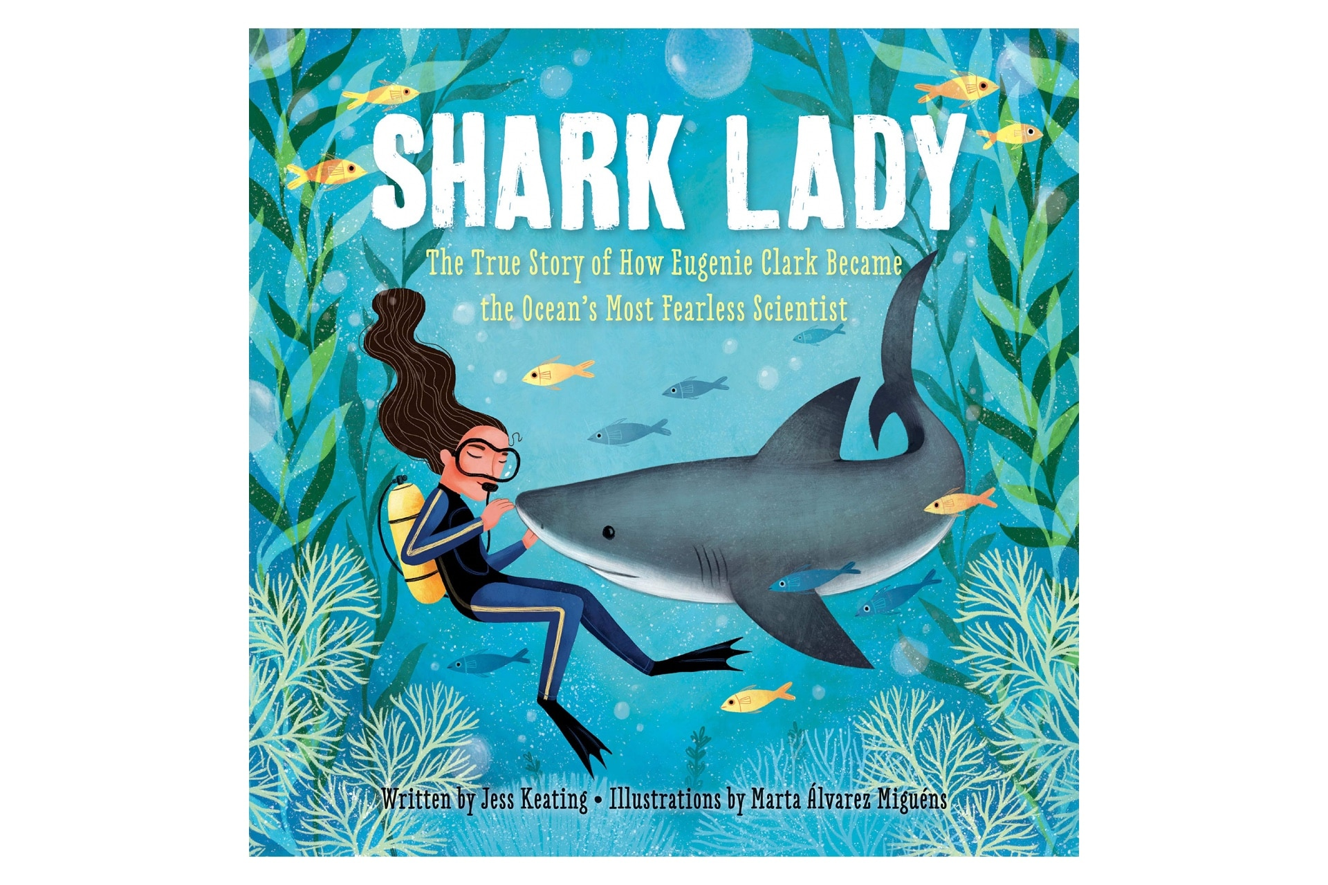book cover of a woman scuba diver under water with a friendly shark