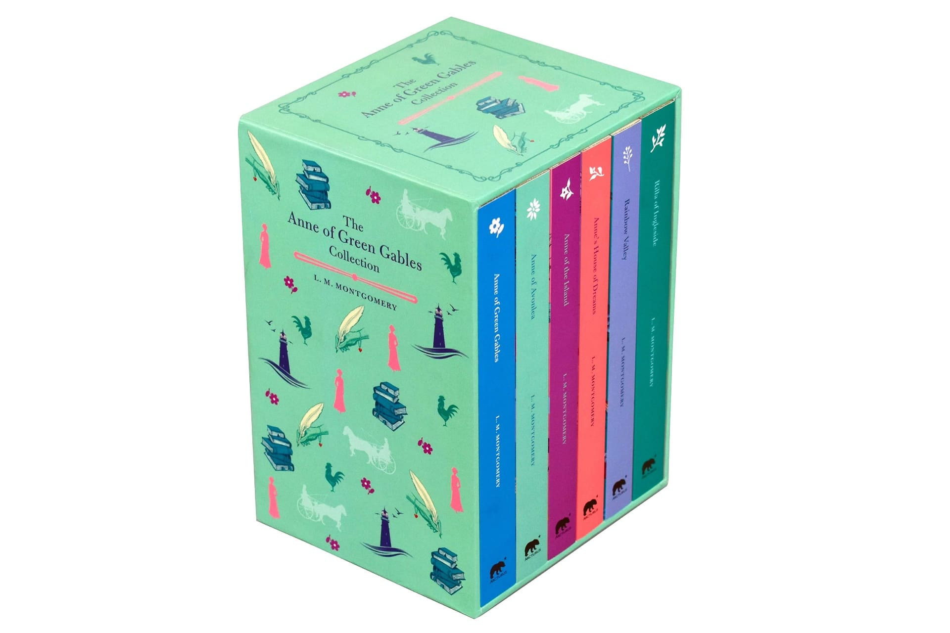 green box set of colourful-spined books