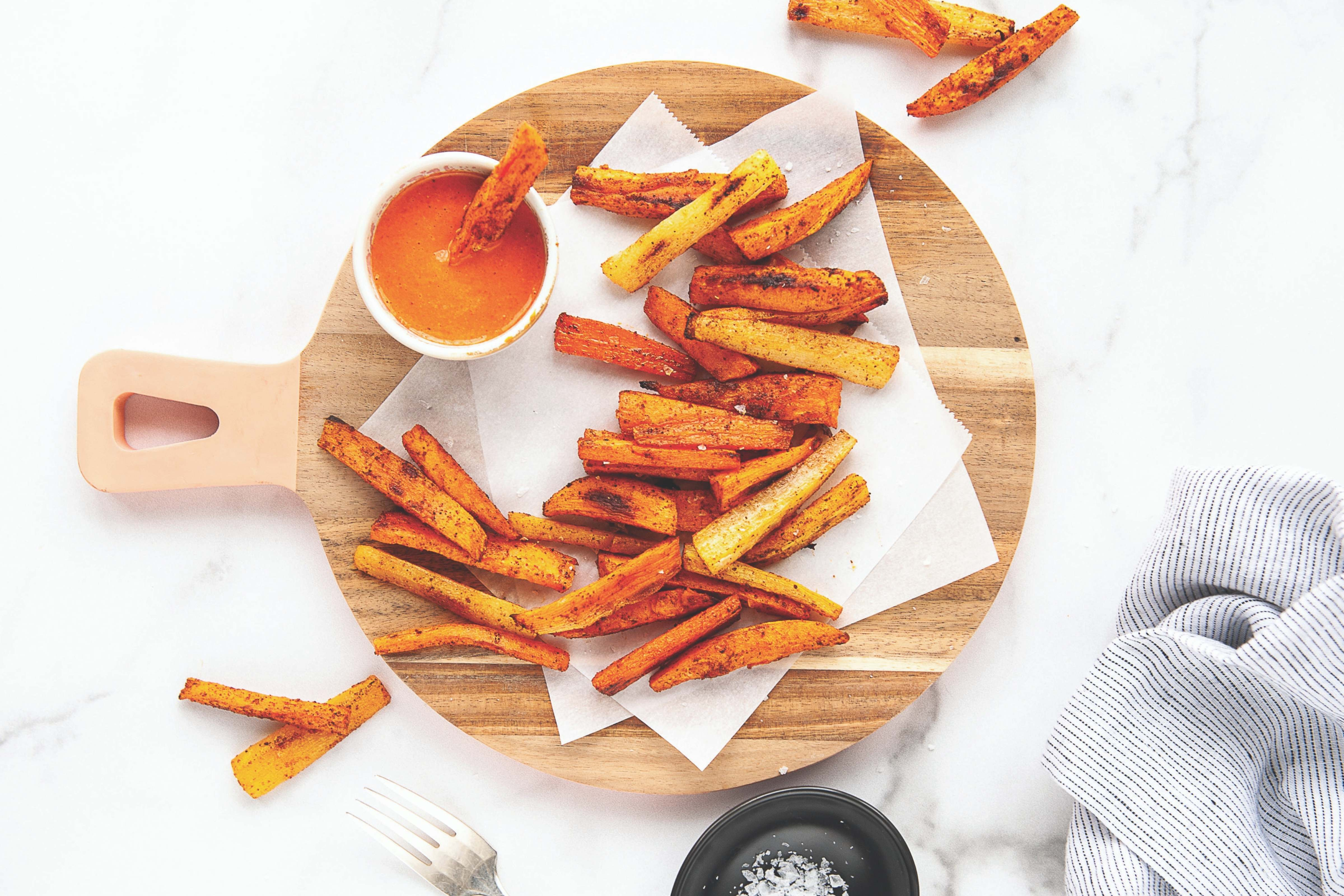 Smoky Sweet Potato And Carrot Fries With Roasted Red Pepper Dipping Sauce