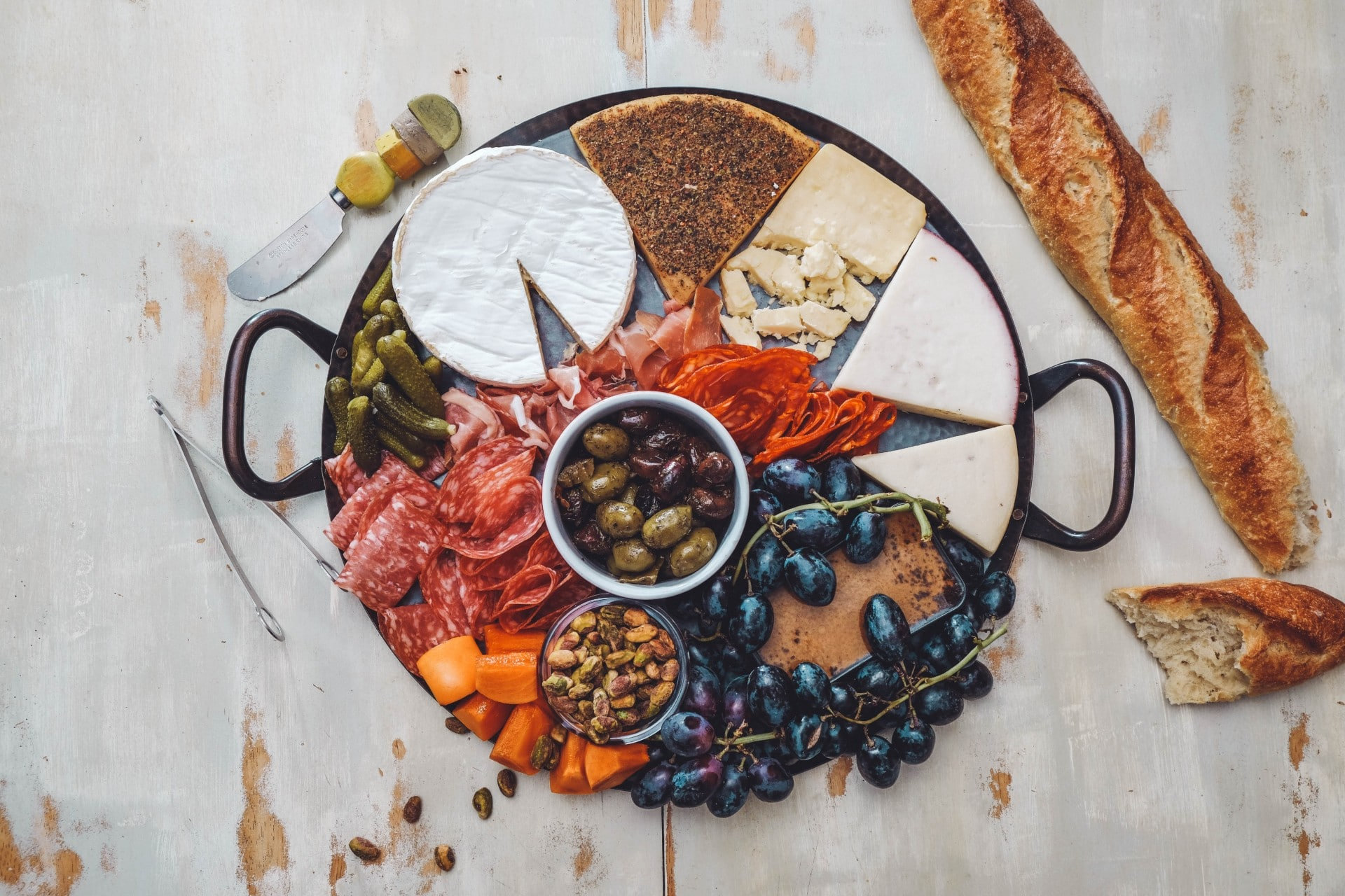 a cheese and meat charcuterie board
