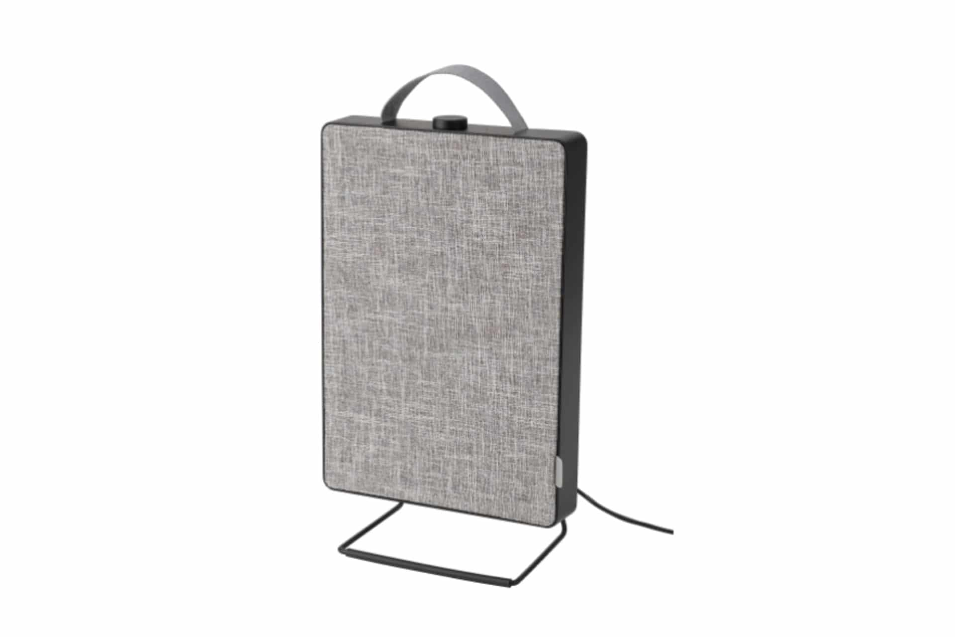 grey air purifier on a white background