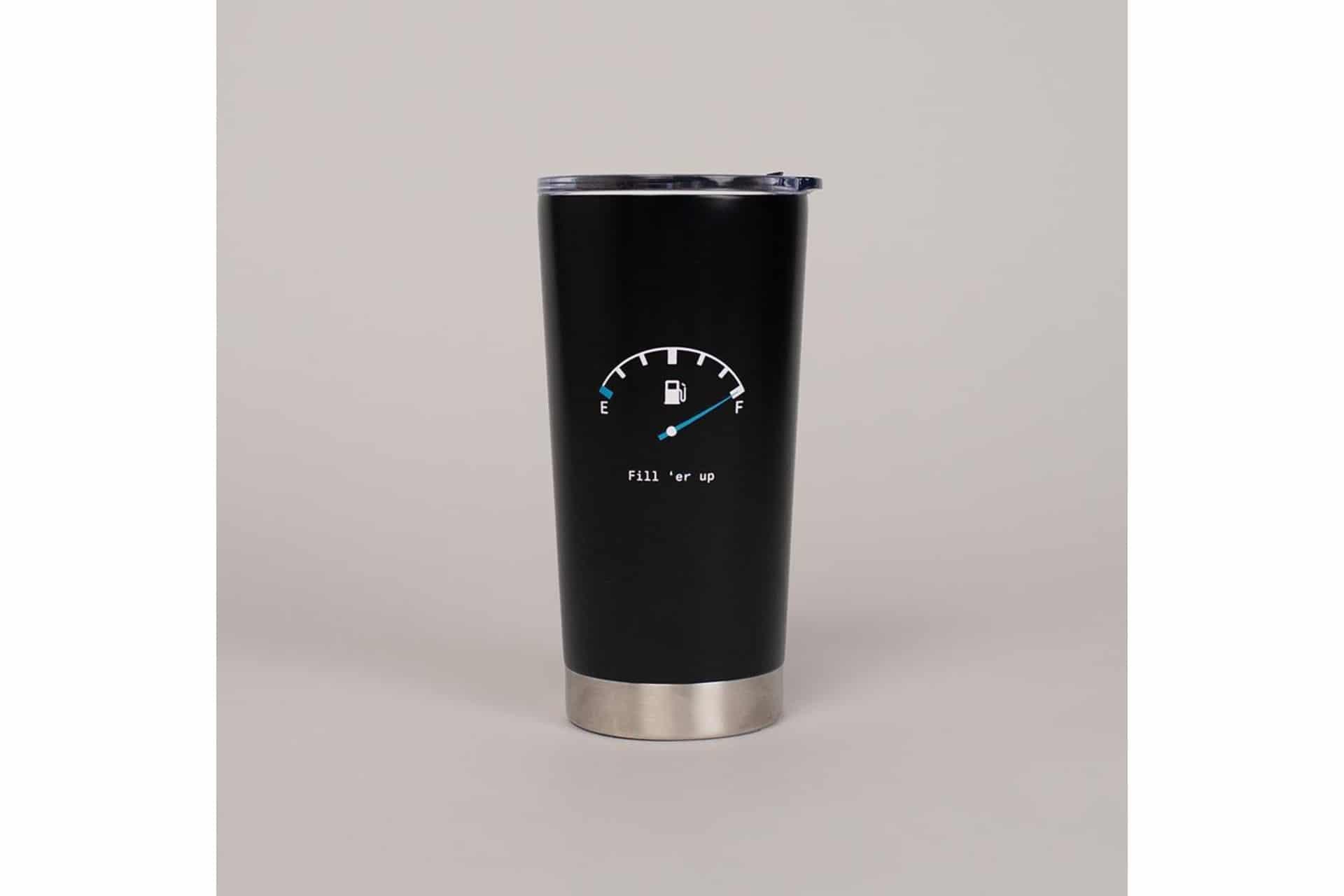 black to-go travel mug with a speedometer